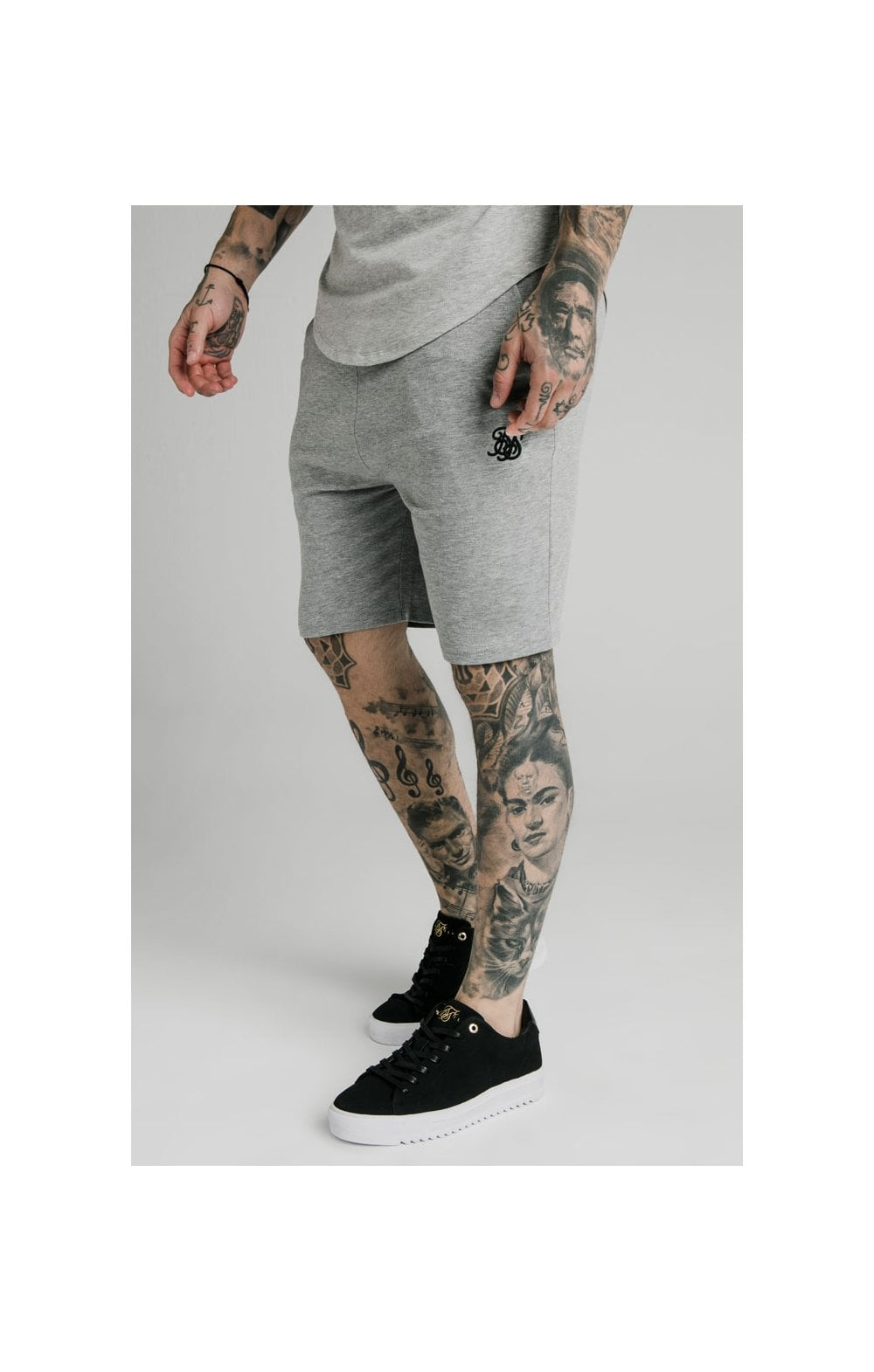SikSilk Jersey Shorts - Grey Marl