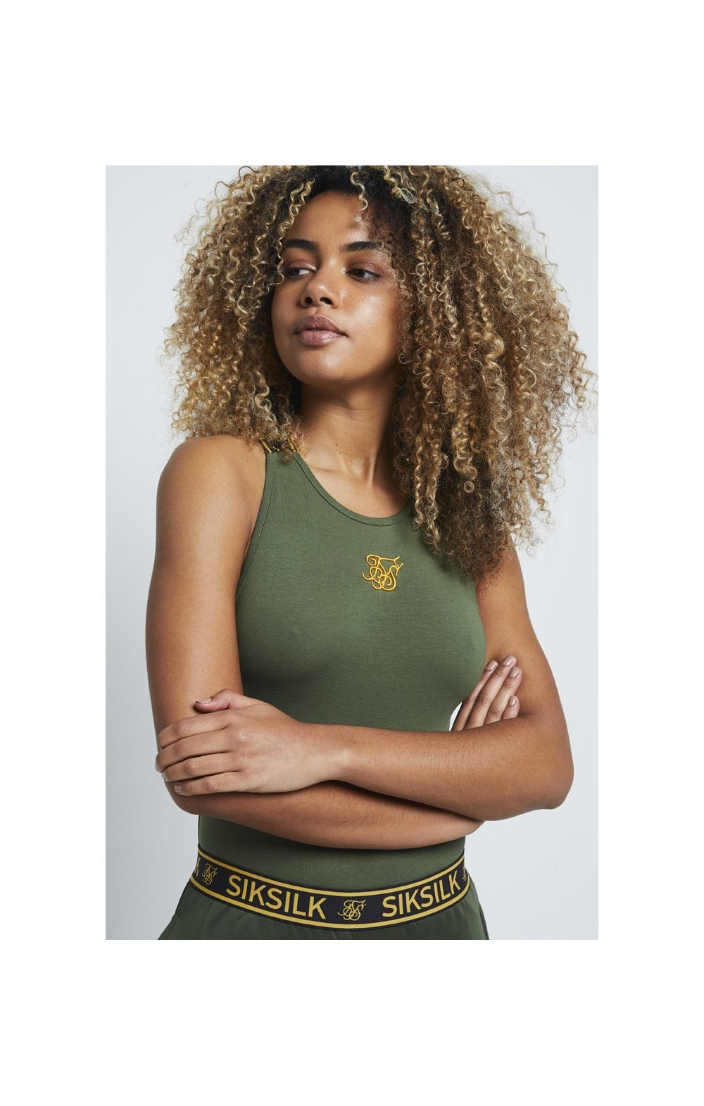 SikSilk Tape Strap Bodysuit – Bronze Green