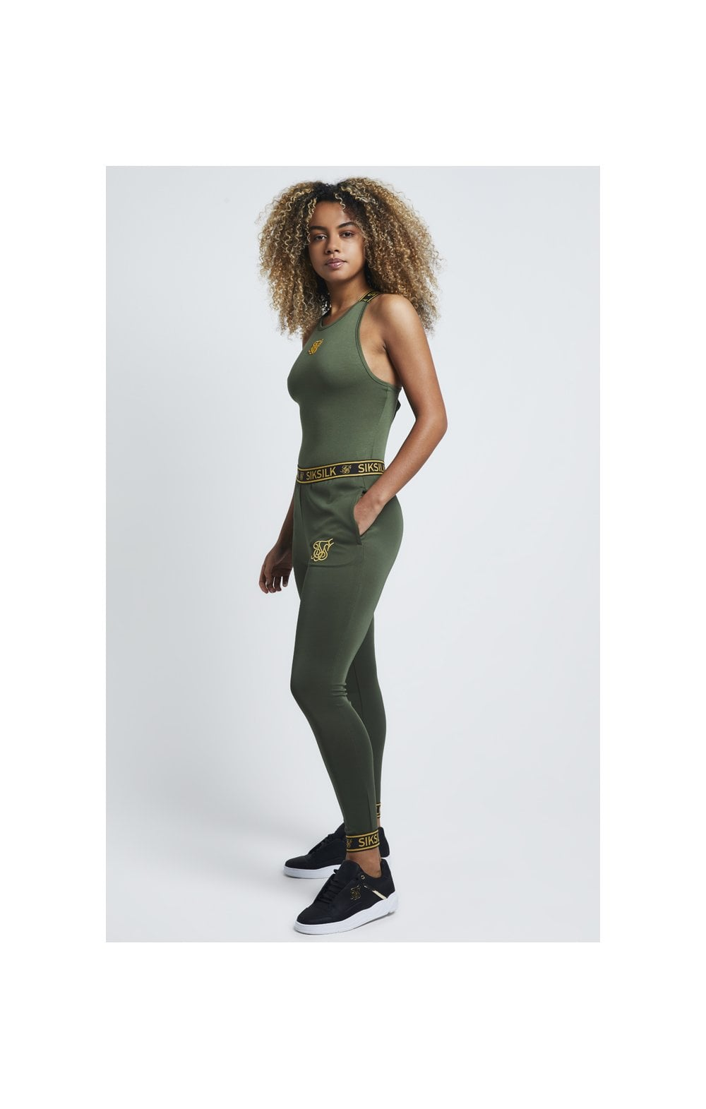 SikSilk Tape Strap Bodysuit – Bronze Green (2)