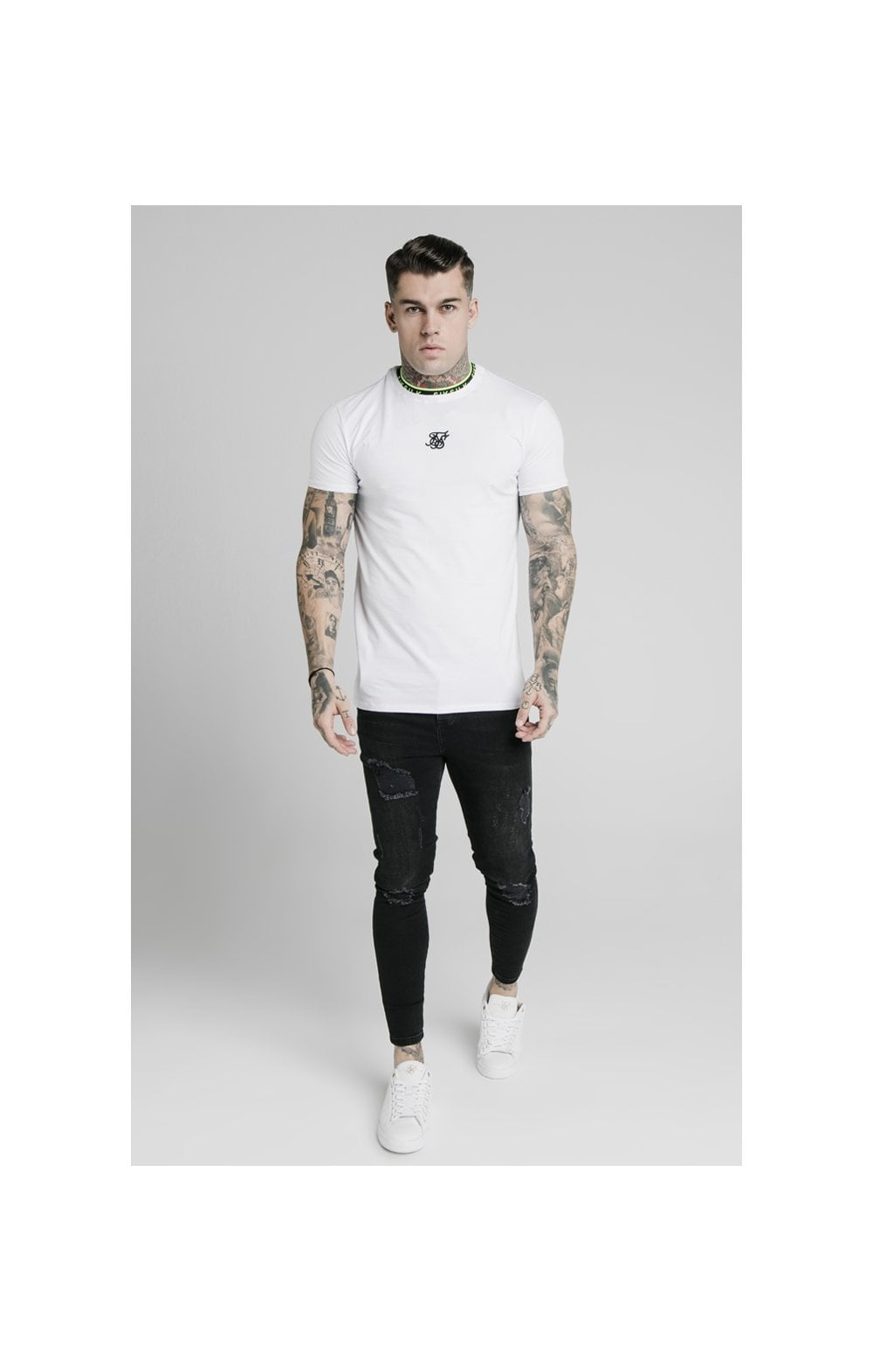 SikSilk Straight Hem Tape Collar Gym Tee - White