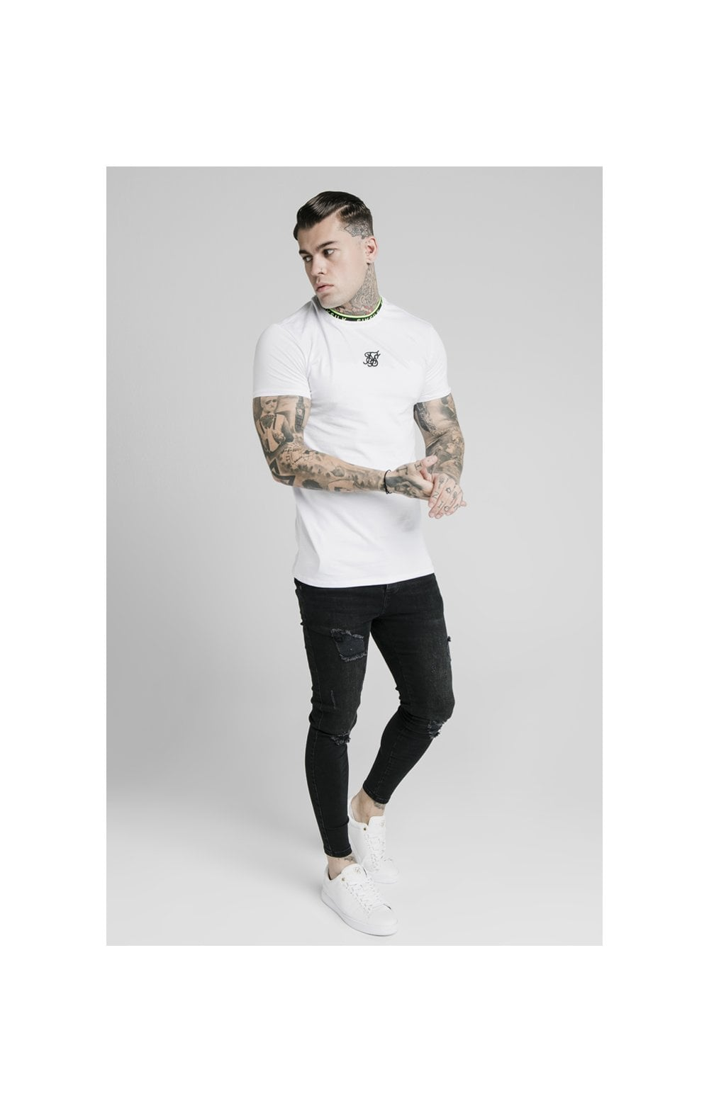 SikSilk Straight Hem Tape Collar Gym Tee - White (2)