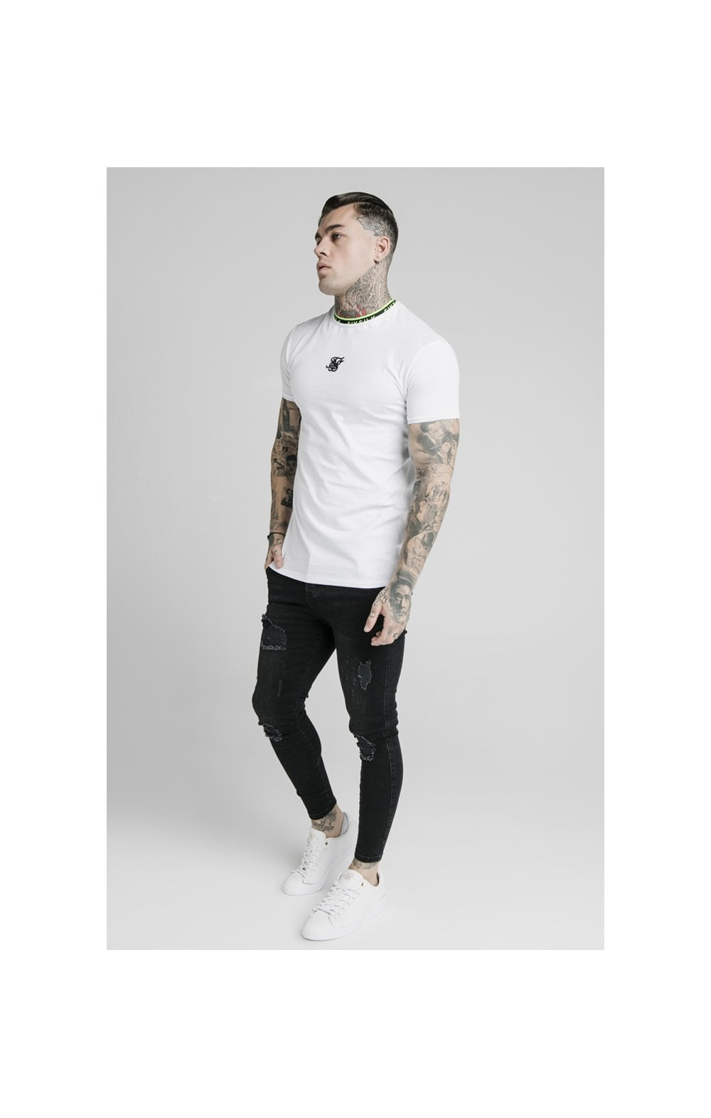 SikSilk Straight Hem Tape Collar Gym Tee - White (3)