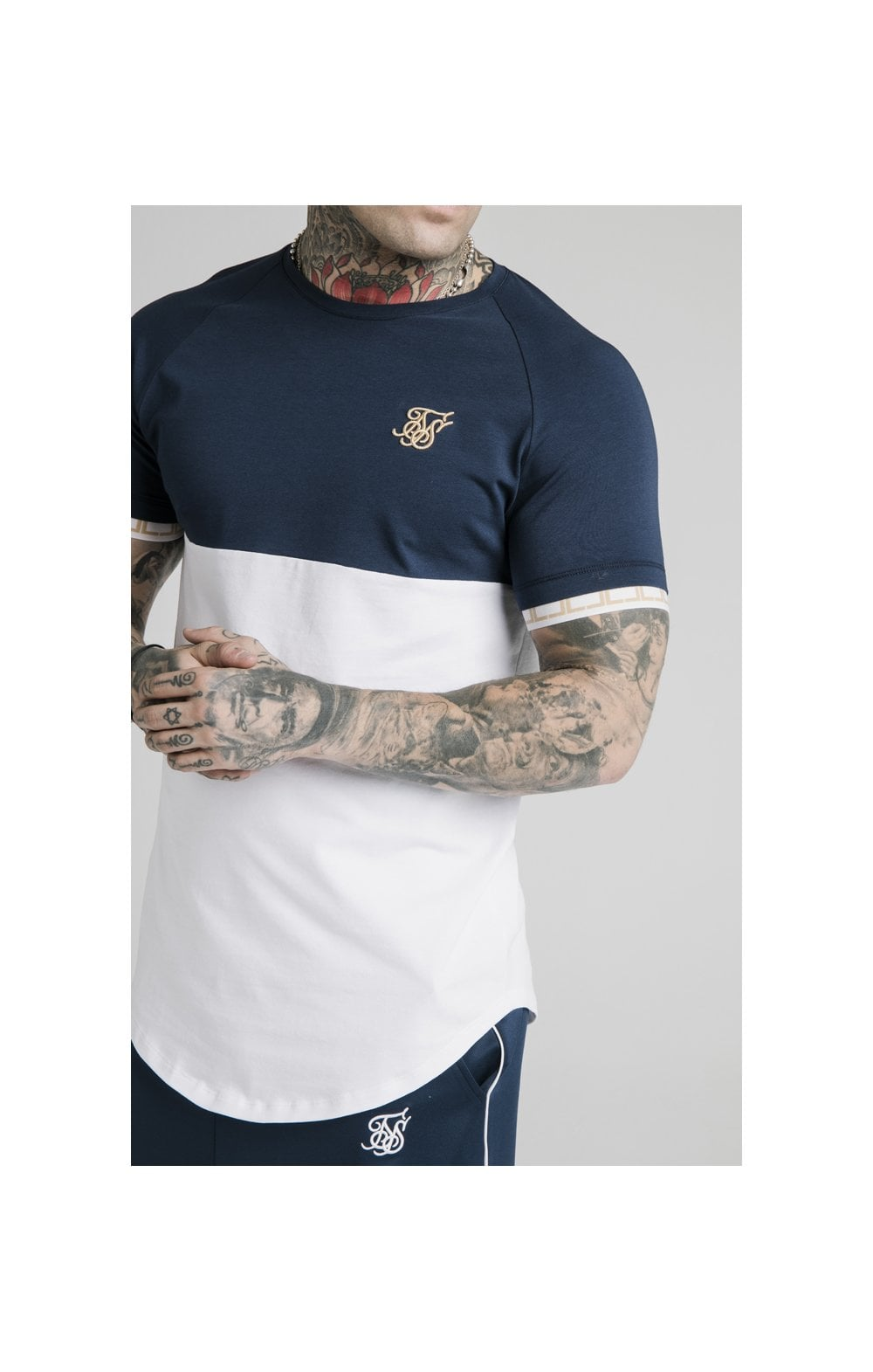 SikSilk S/S Cut & Sew Tech Tee - Navy & White