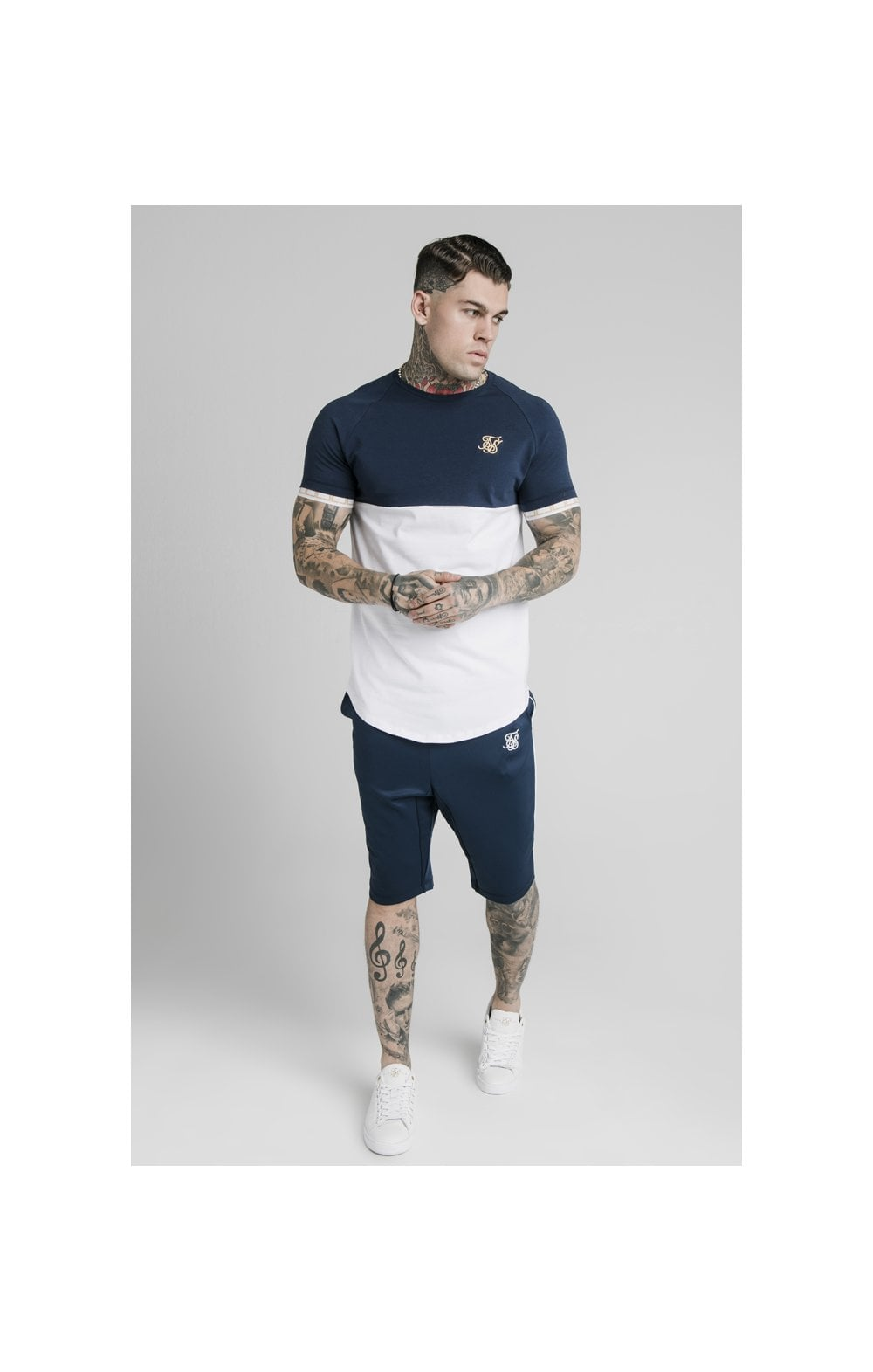 SikSilk S/S Cut & Sew Tech Tee - Navy & White (1)