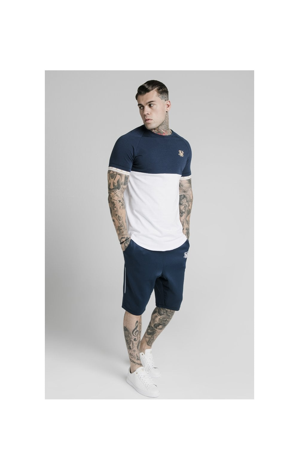 SikSilk S/S Cut & Sew Tech Tee - Navy & White (2)