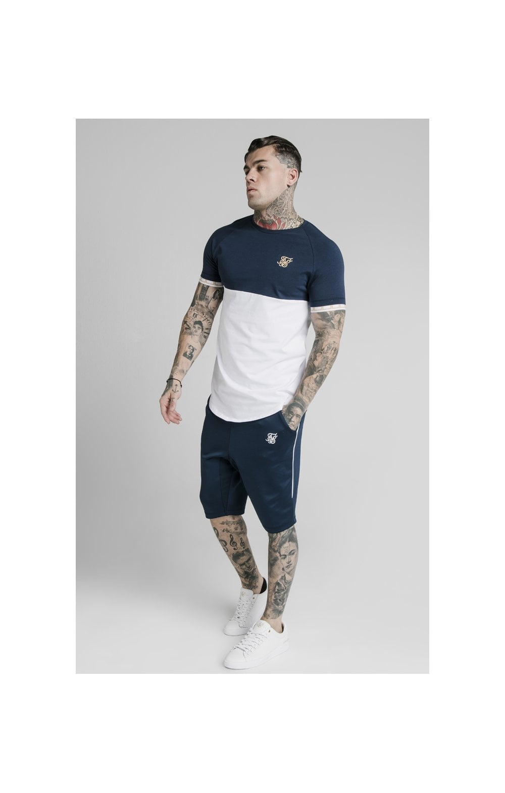 SikSilk S/S Cut & Sew Tech Tee - Navy & White (3)