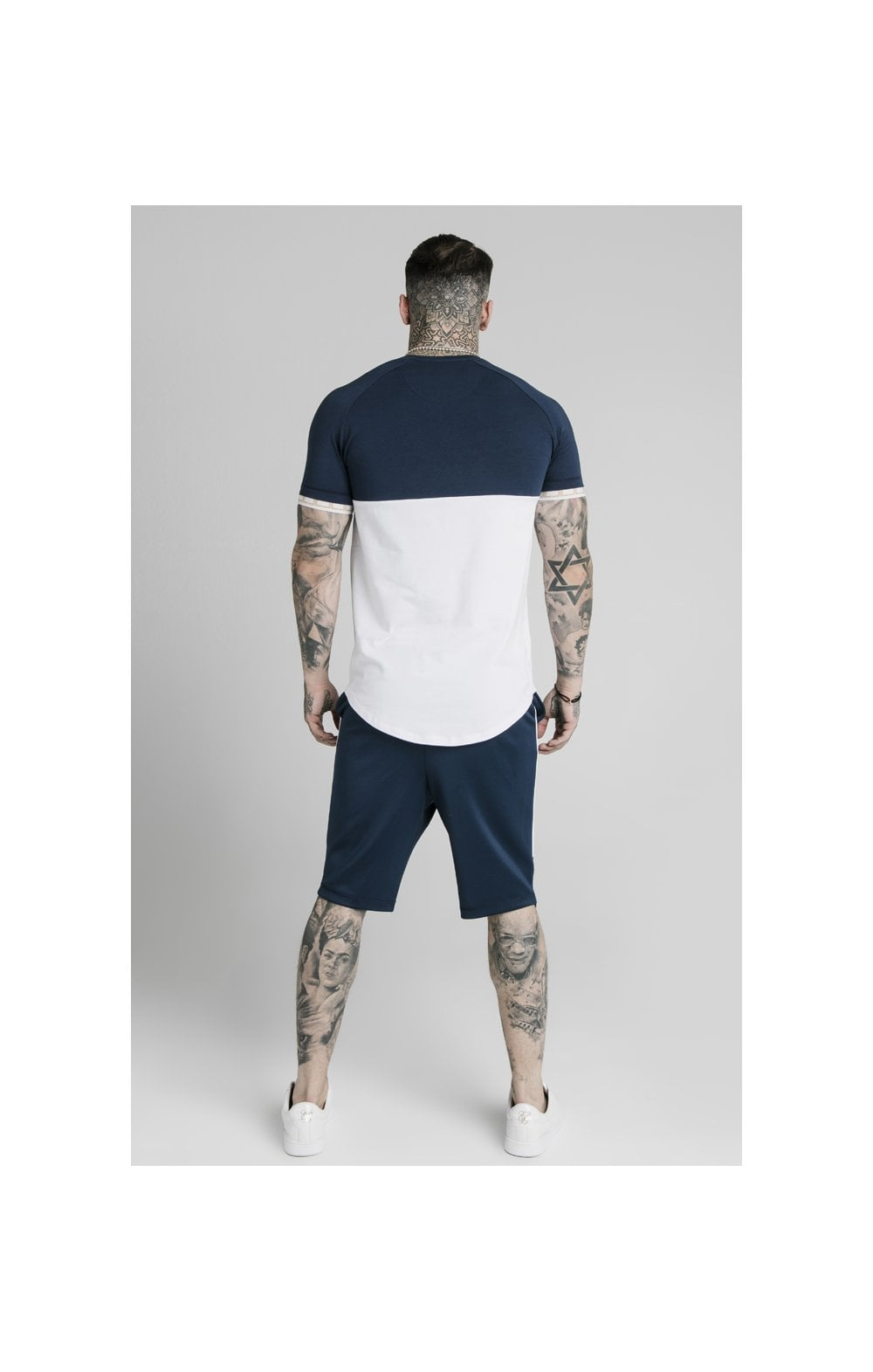 SikSilk S/S Cut & Sew Tech Tee - Navy & White (4)