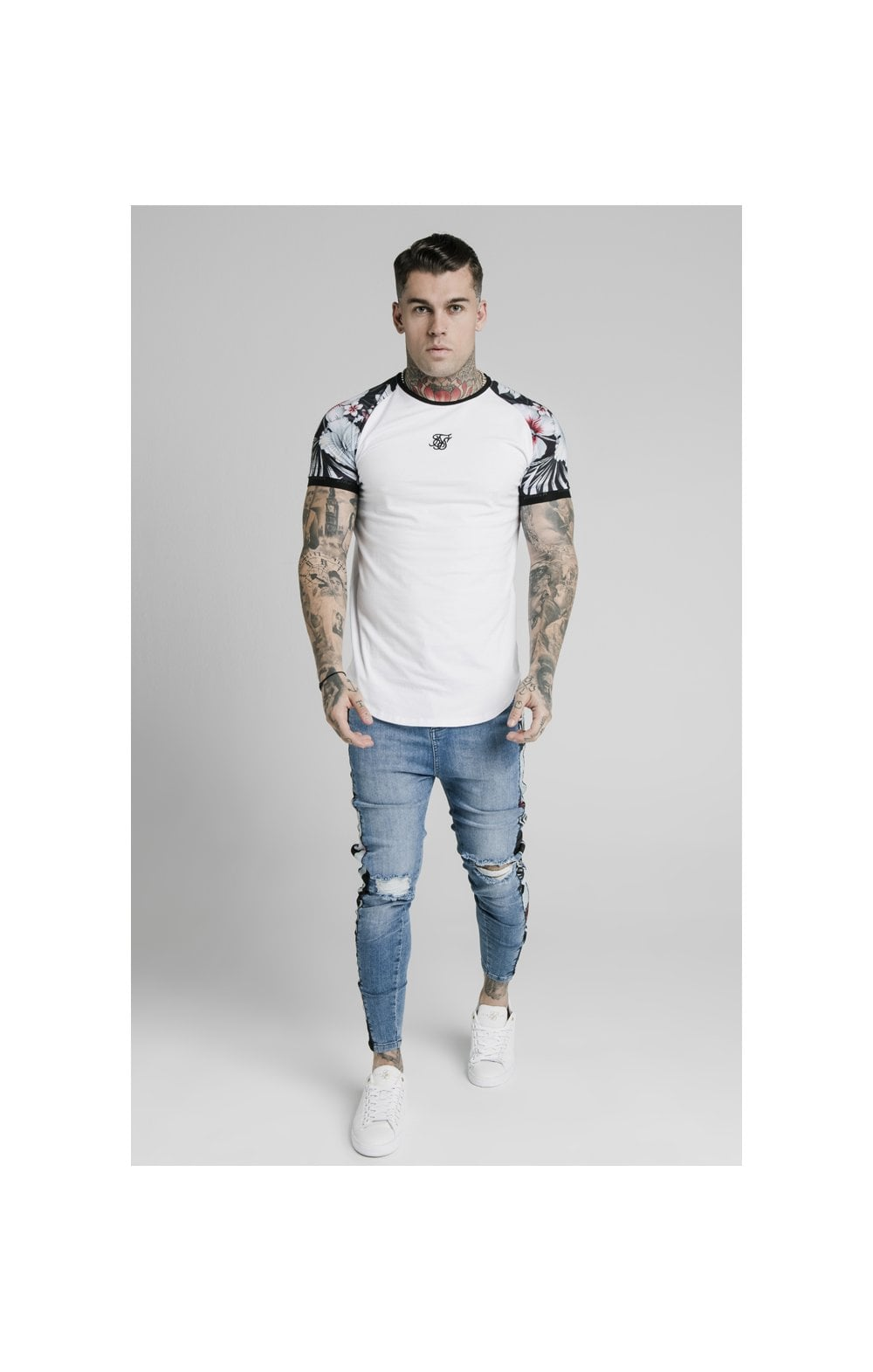 Load image into Gallery viewer, SikSilk S/S Floral Raglan Tech Tee - White (1)