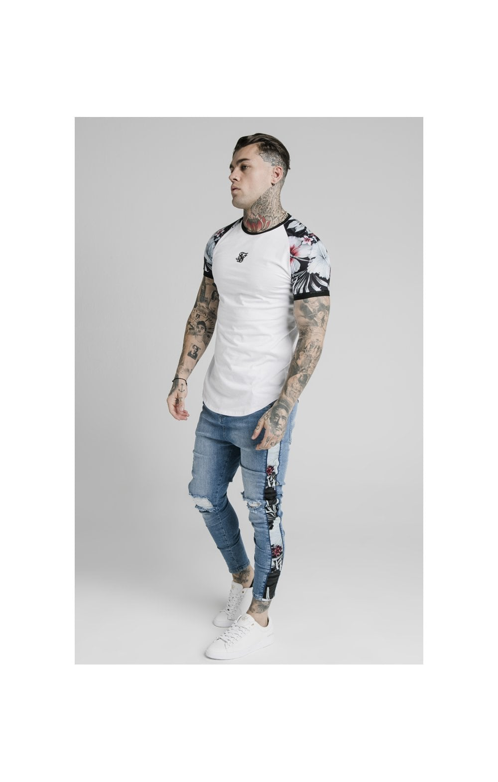Load image into Gallery viewer, SikSilk S/S Floral Raglan Tech Tee - White (2)