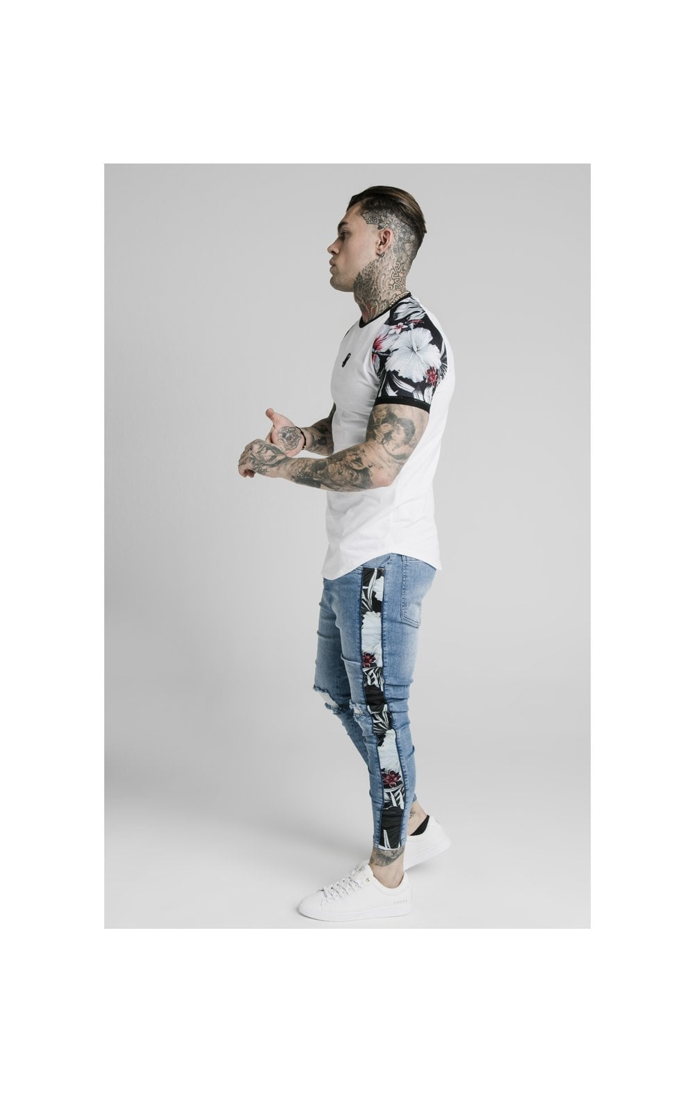Load image into Gallery viewer, SikSilk S/S Floral Raglan Tech Tee - White (3)