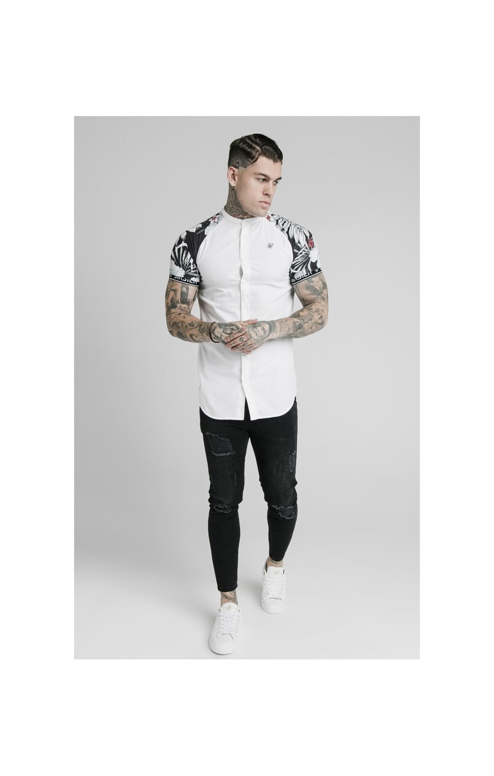 Load image into Gallery viewer, SikSilk S/S Floral Raglan Tech Shirt - White & Floral (1)
