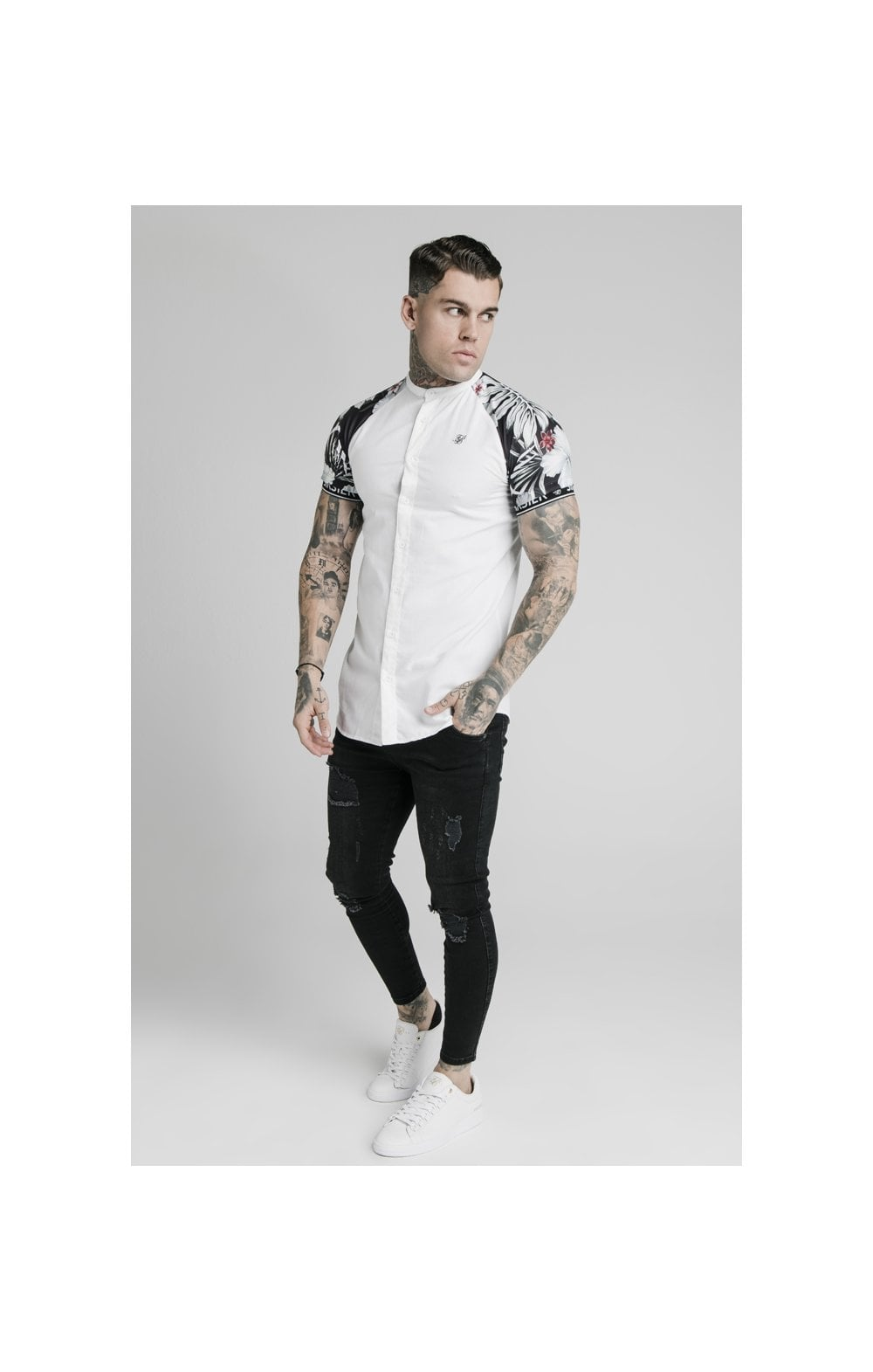 Load image into Gallery viewer, SikSilk S/S Floral Raglan Tech Shirt - White & Floral (2)