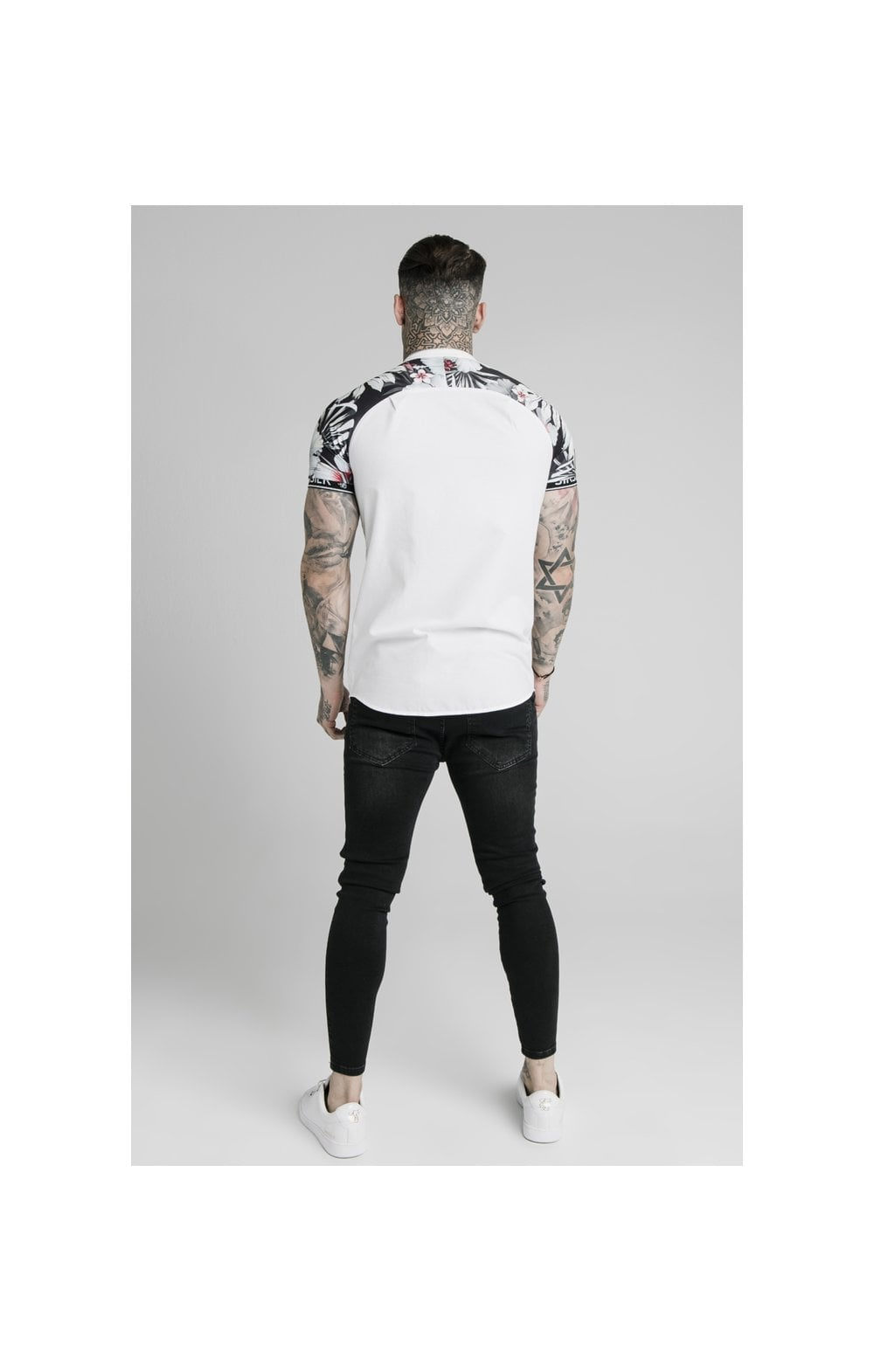 Load image into Gallery viewer, SikSilk S/S Floral Raglan Tech Shirt - White & Floral (3)