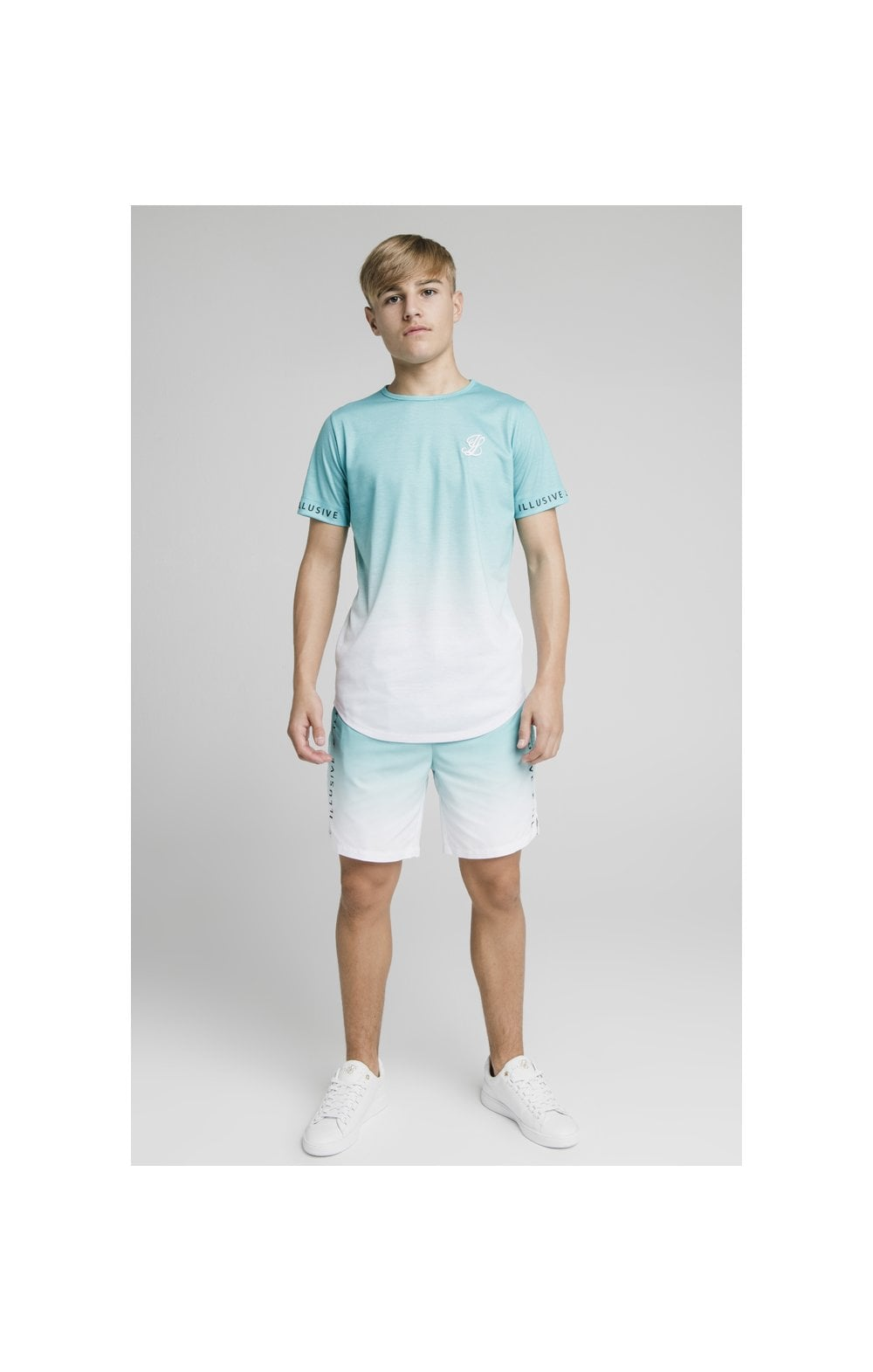 Load image into Gallery viewer, Illusive London Fade Swim Shorts - Teal & White (1)