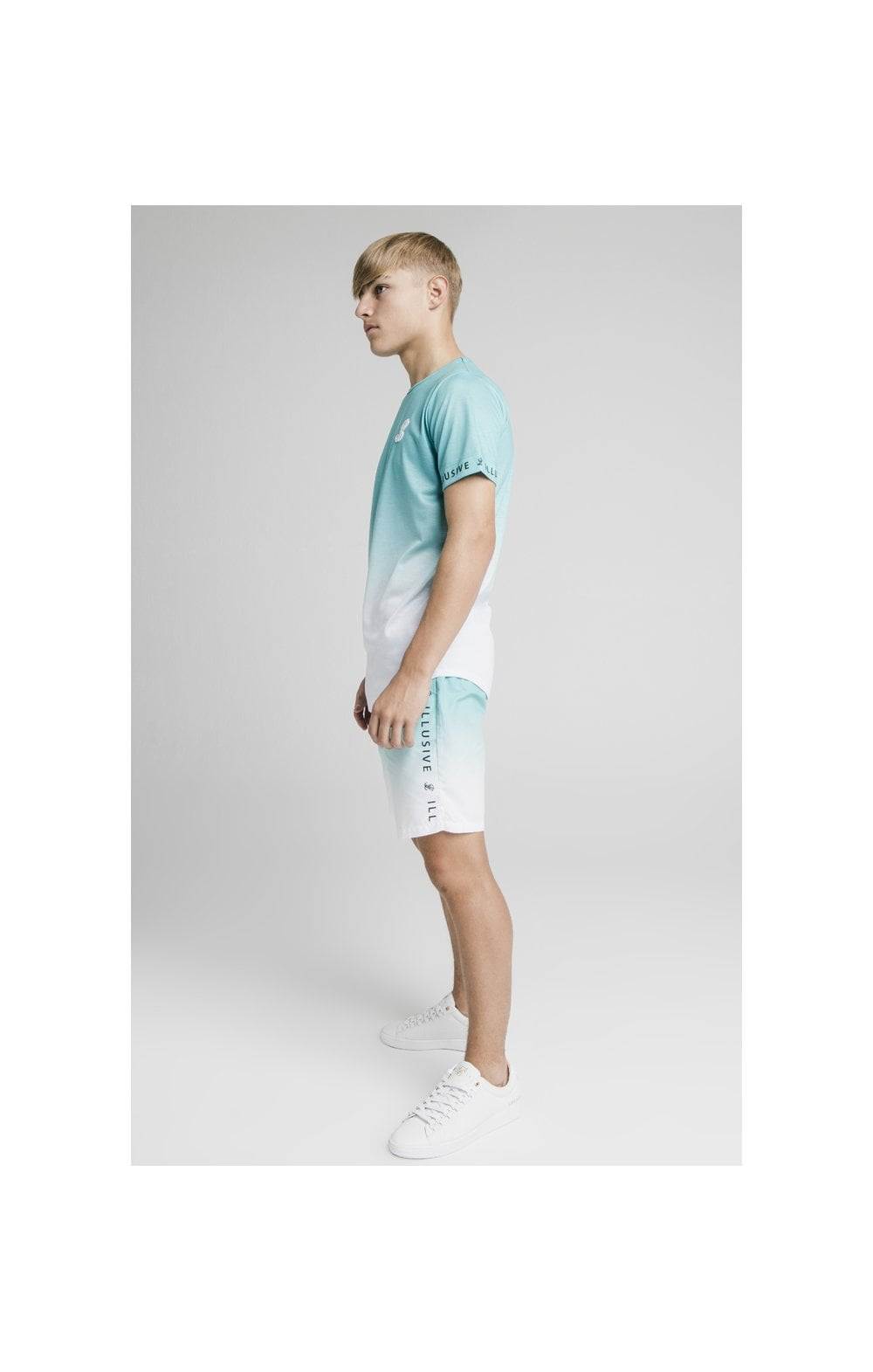 Load image into Gallery viewer, Illusive London Fade Swim Shorts - Teal & White (5)