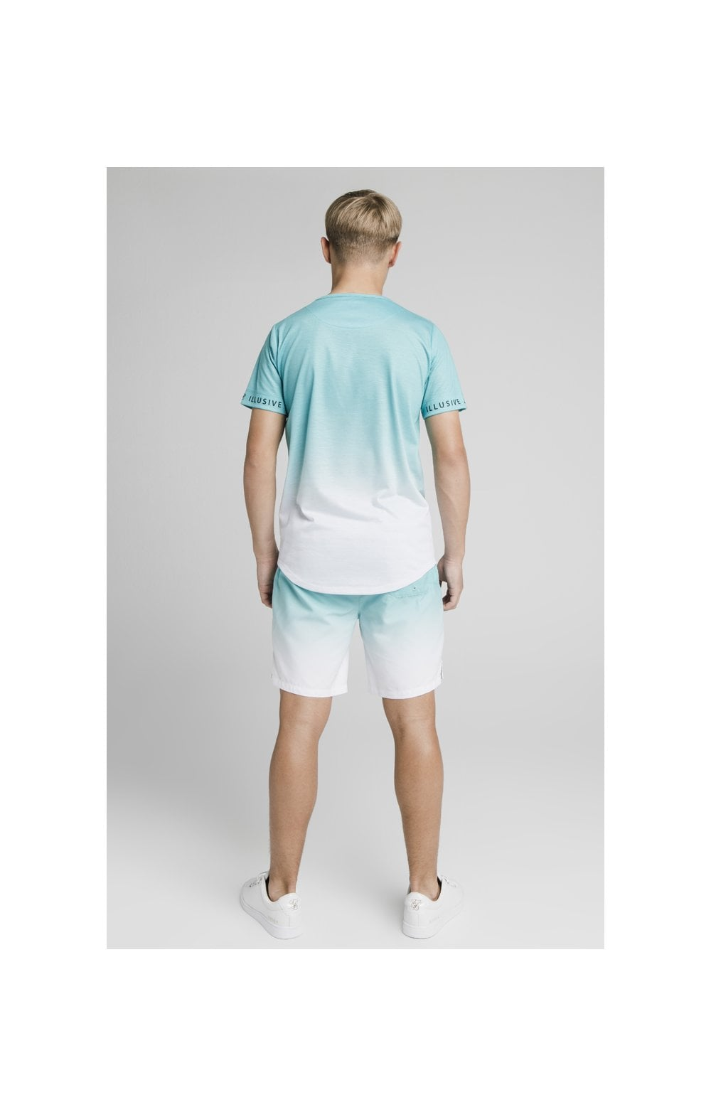 Load image into Gallery viewer, Illusive London Fade Swim Shorts - Teal & White (8)