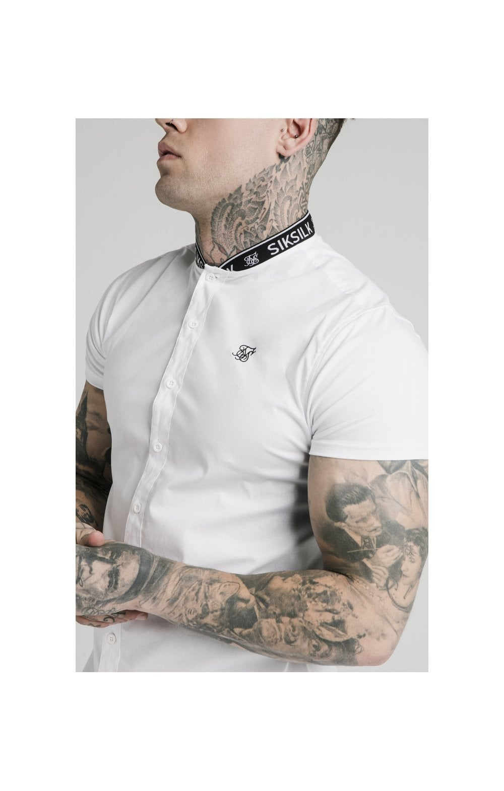 Load image into Gallery viewer, SikSilk S/S Tape Collar Shirt - White