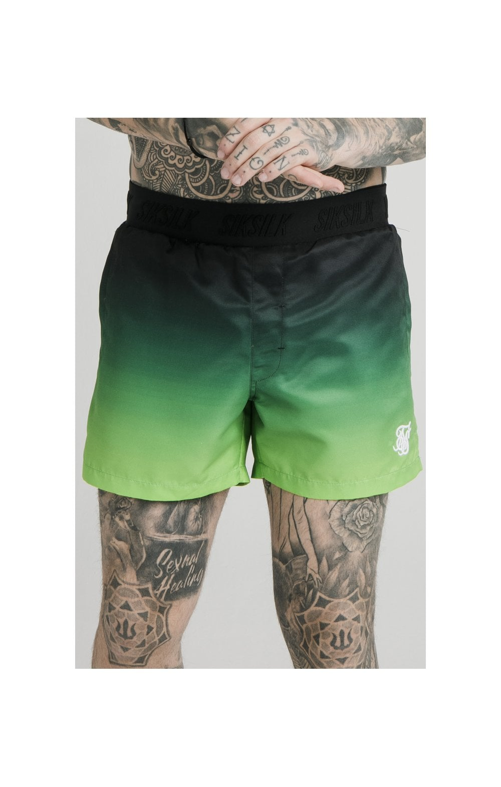 SikSilk Tape Fade Swim Shorts - Black & Fluro