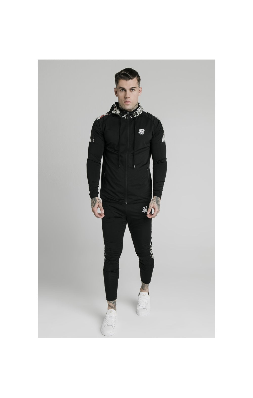 SikSilk Scope Zip Through Hoodie - Black