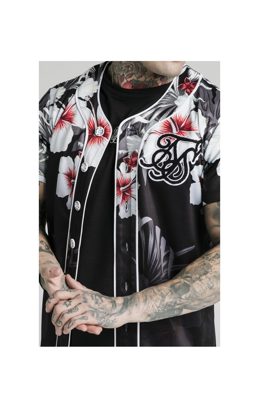 Load image into Gallery viewer, SikSilk Floral Baseball Jersey - Black (1)