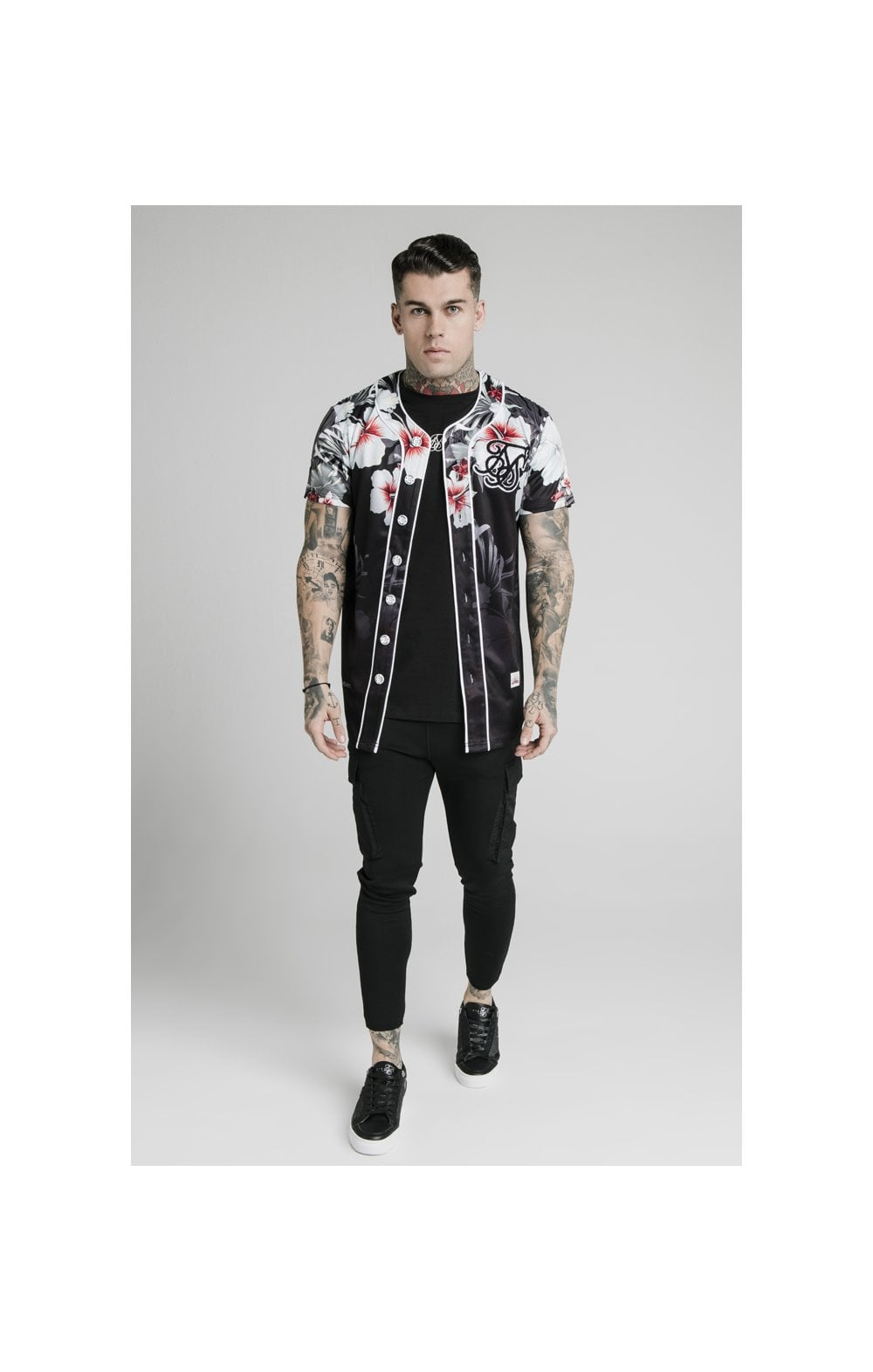 Load image into Gallery viewer, SikSilk Floral Baseball Jersey - Black (2)