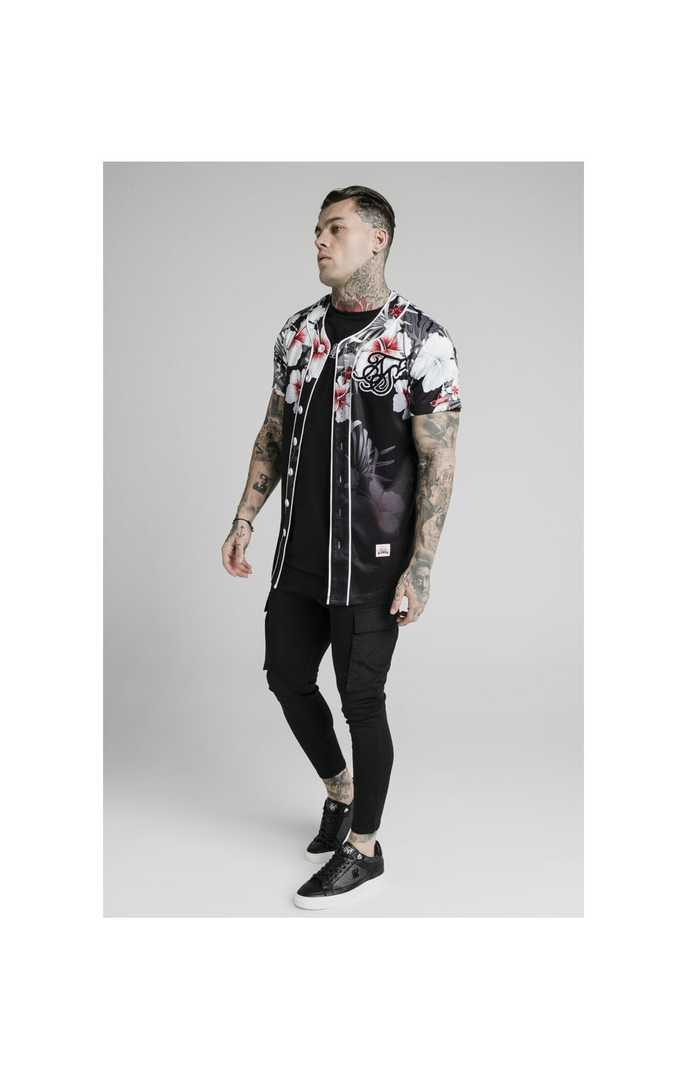 Load image into Gallery viewer, SikSilk Floral Baseball Jersey - Black (3)