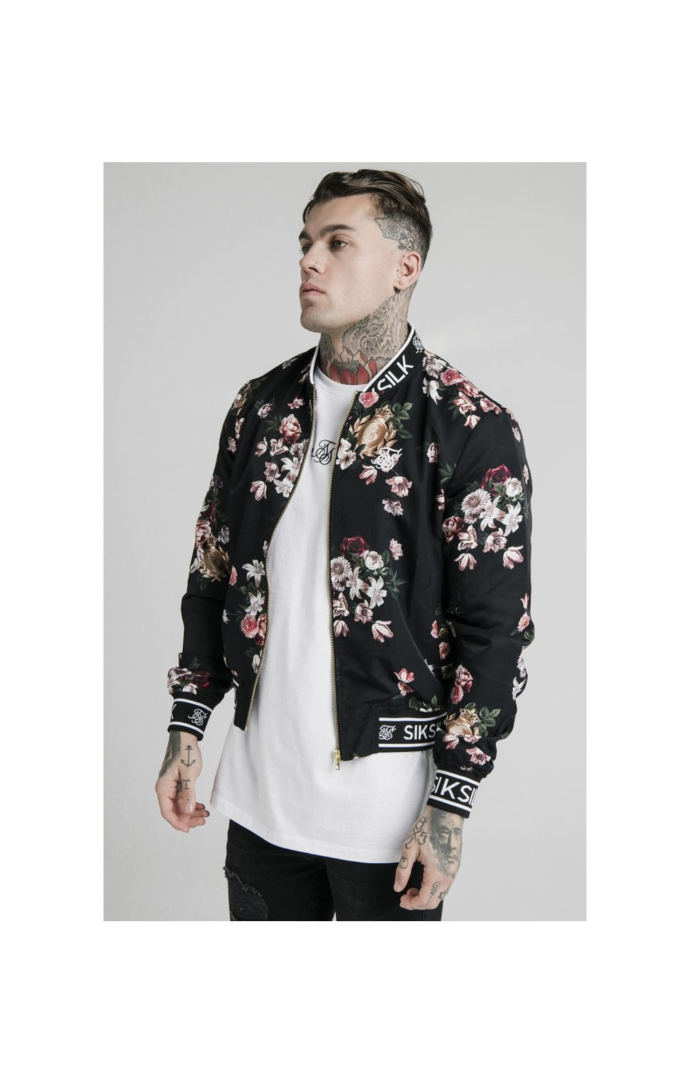 Load image into Gallery viewer, SikSilk Prestige Floral Bomber - Black