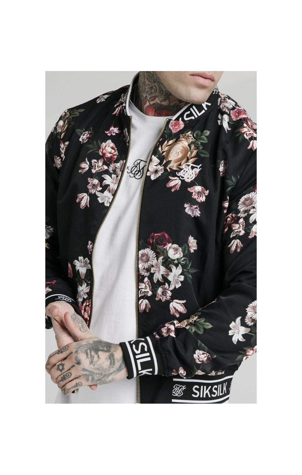 Load image into Gallery viewer, SikSilk Prestige Floral Bomber - Black (1)
