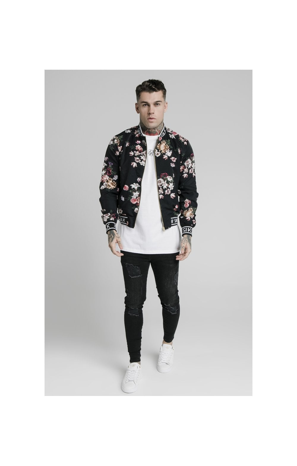Load image into Gallery viewer, SikSilk Prestige Floral Bomber - Black (2)