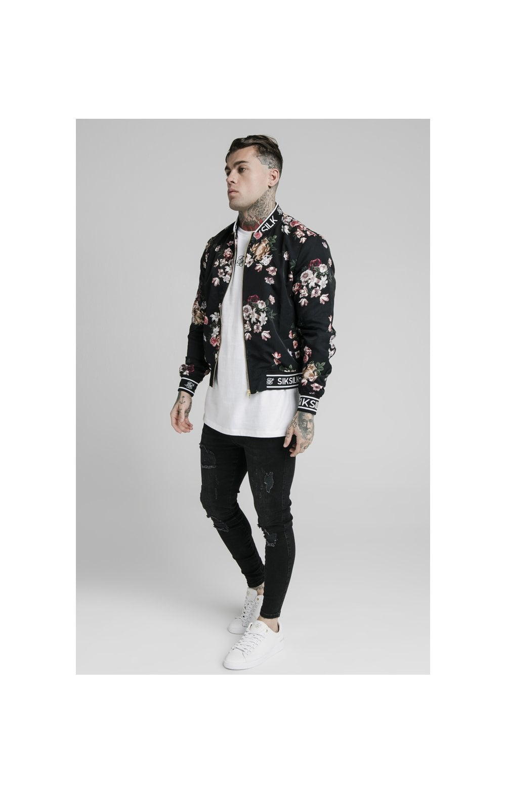 Load image into Gallery viewer, SikSilk Prestige Floral Bomber - Black (3)