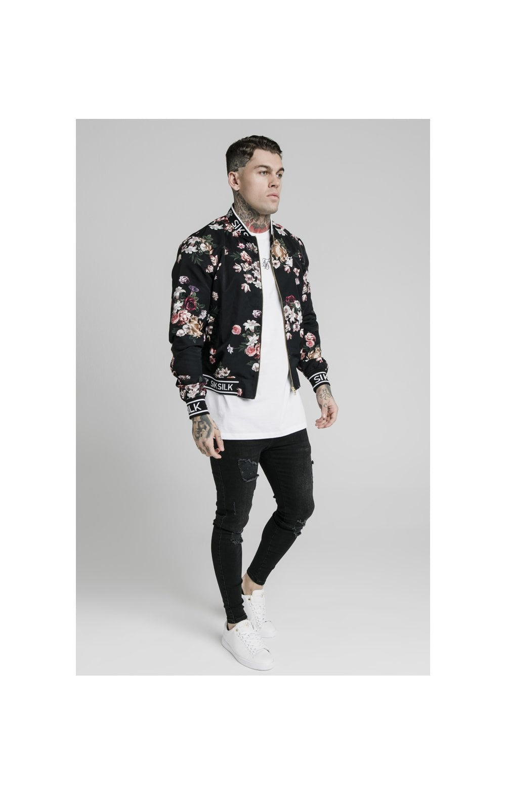 Load image into Gallery viewer, SikSilk Prestige Floral Bomber - Black (4)