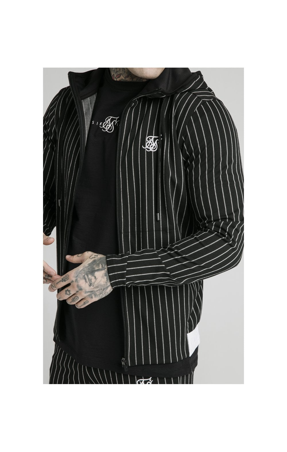 SikSilk Agility  Zip Through Hoodie - Black & White (1)