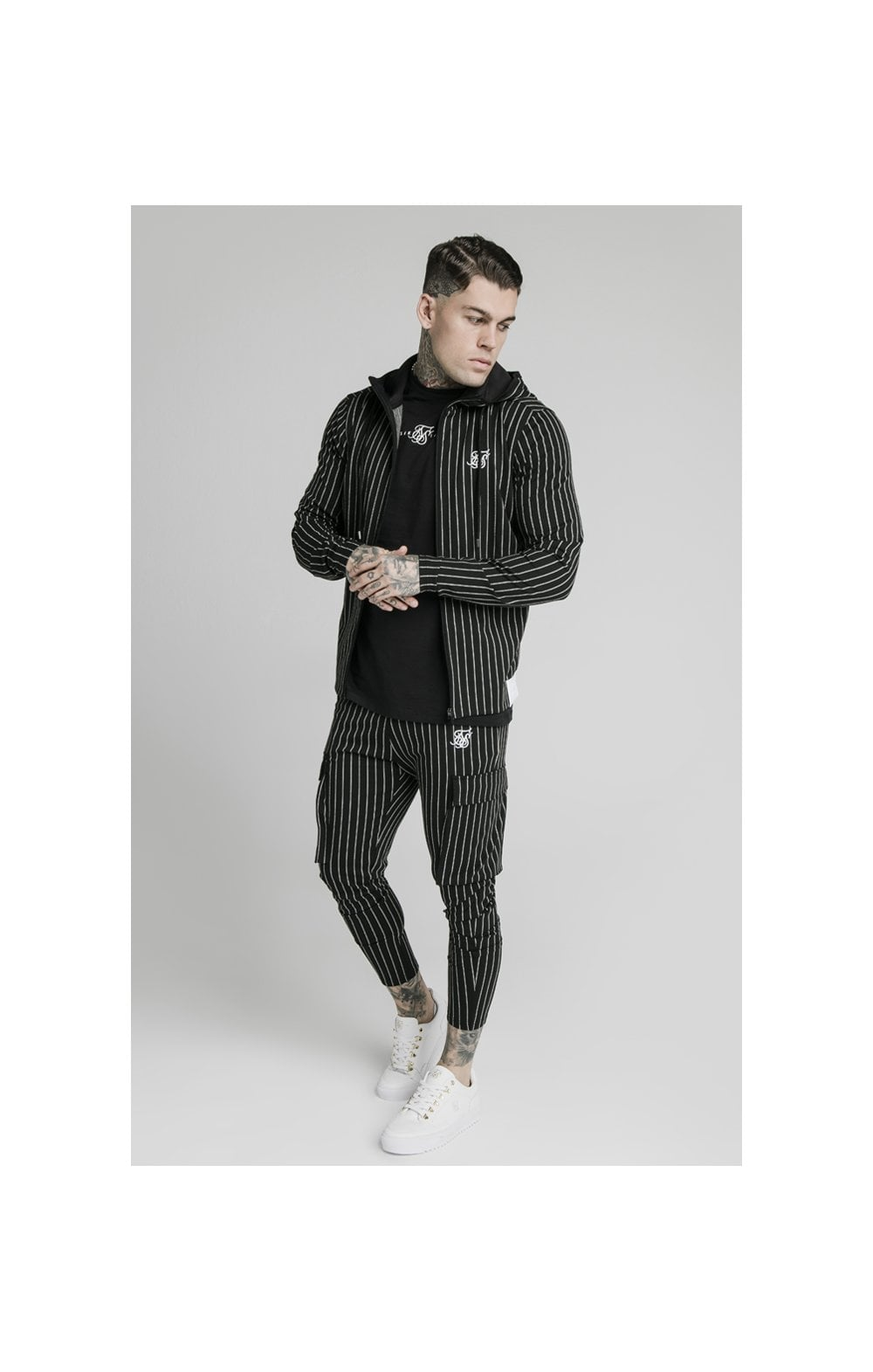 SikSilk Agility  Zip Through Hoodie - Black & White (2)