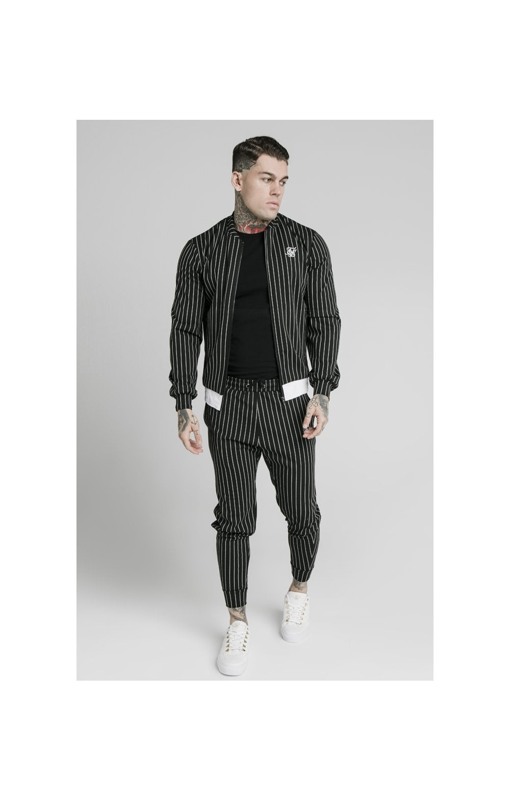 Load image into Gallery viewer, SikSilk Pinstripe Bomber Jacket - Black & White