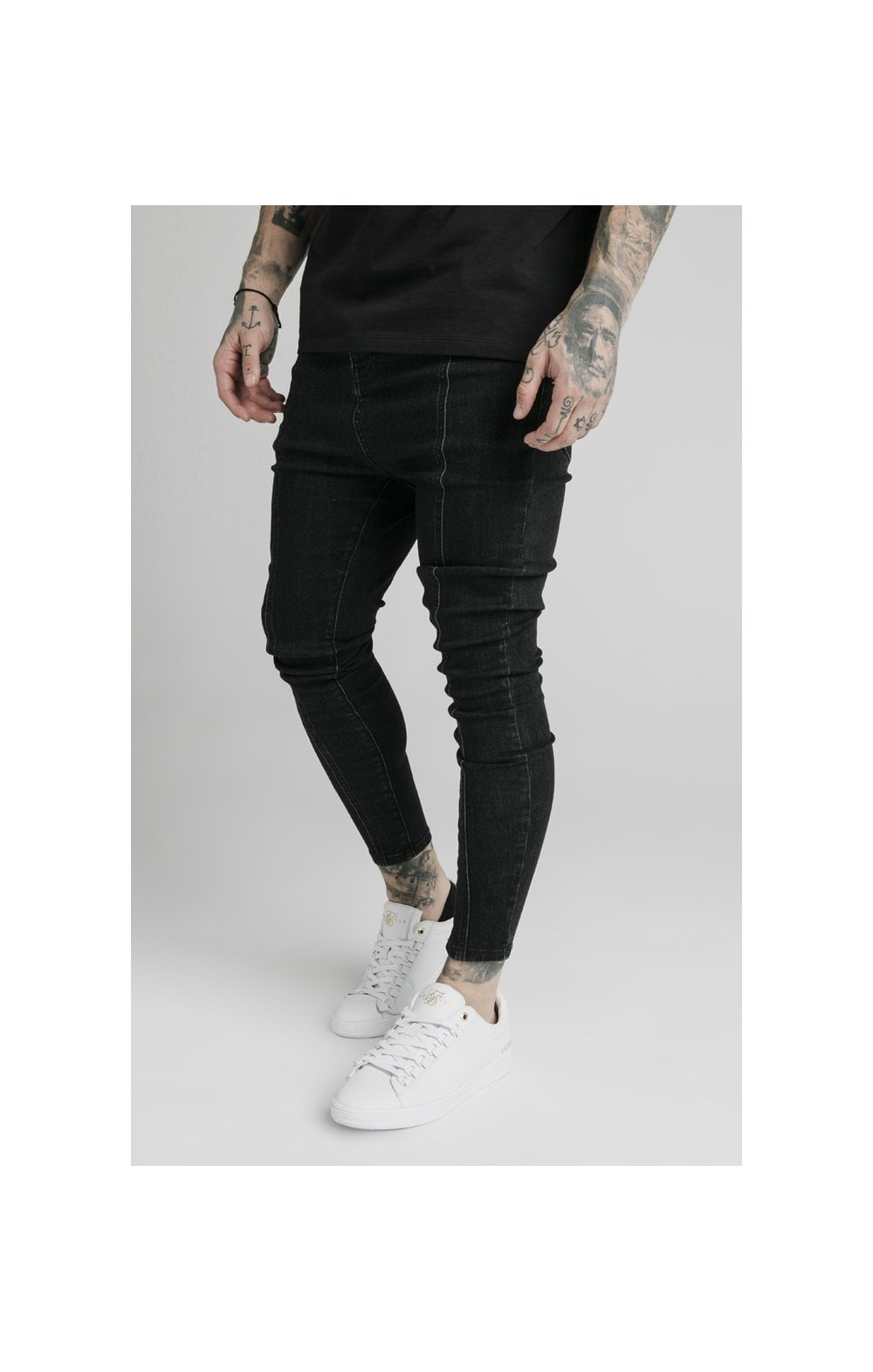 SikSilk Drop Crotch Pleated Appliqu Denims - Black