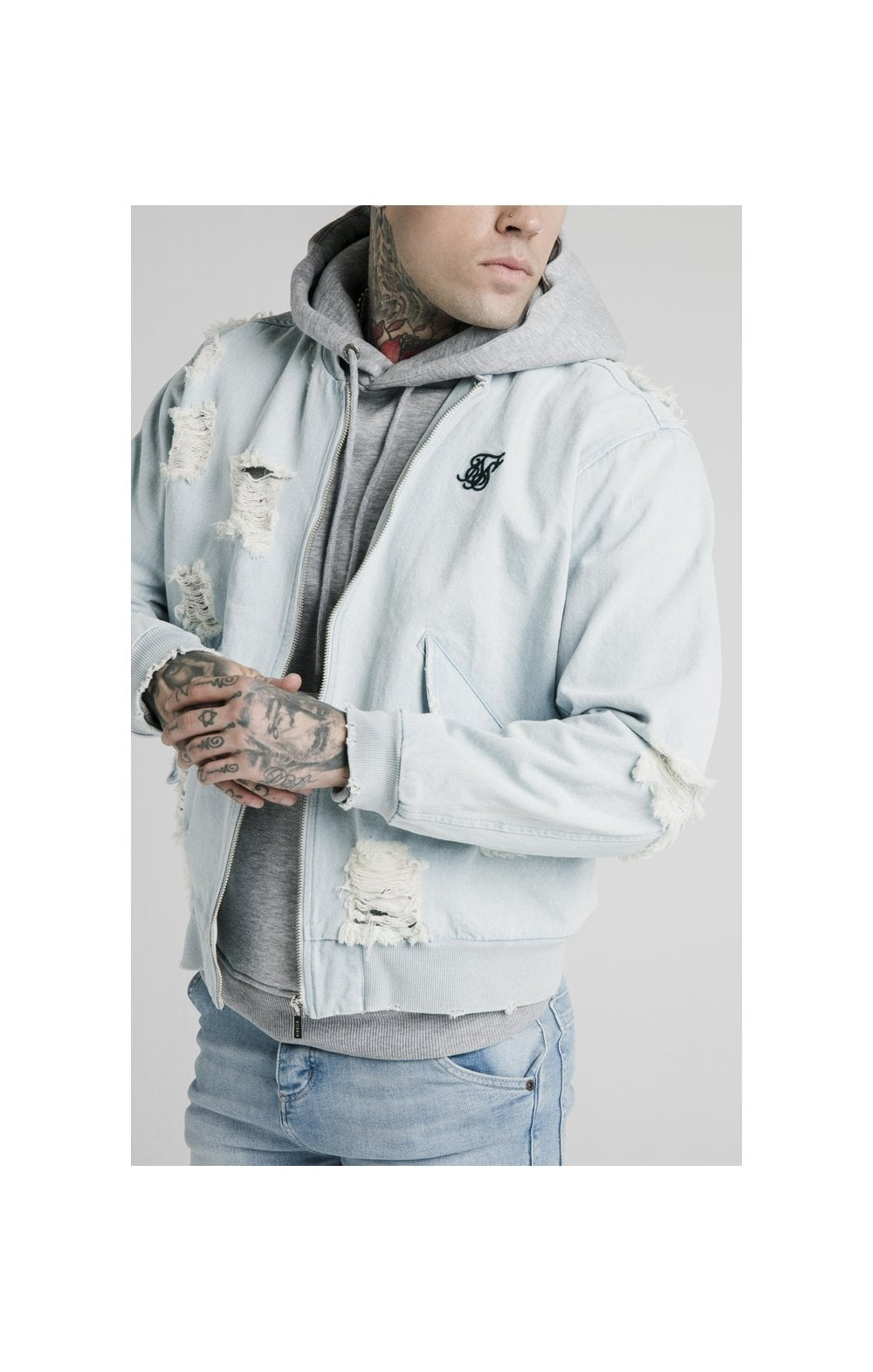 SikSilk Distressed Denim Bomber Jacket - Light Blue