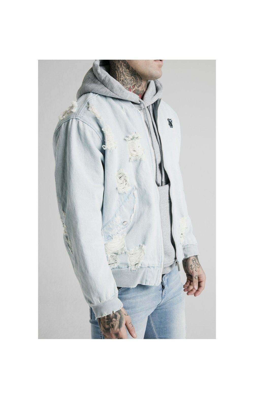 SikSilk Distressed Denim Bomber Jacket - Light Blue (1)