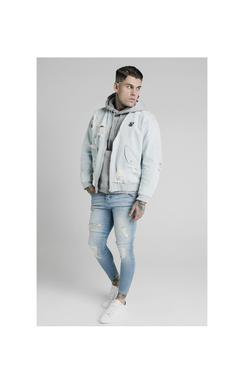 SikSilk Distressed Denim Bomber Jacket - Light Blue (2)