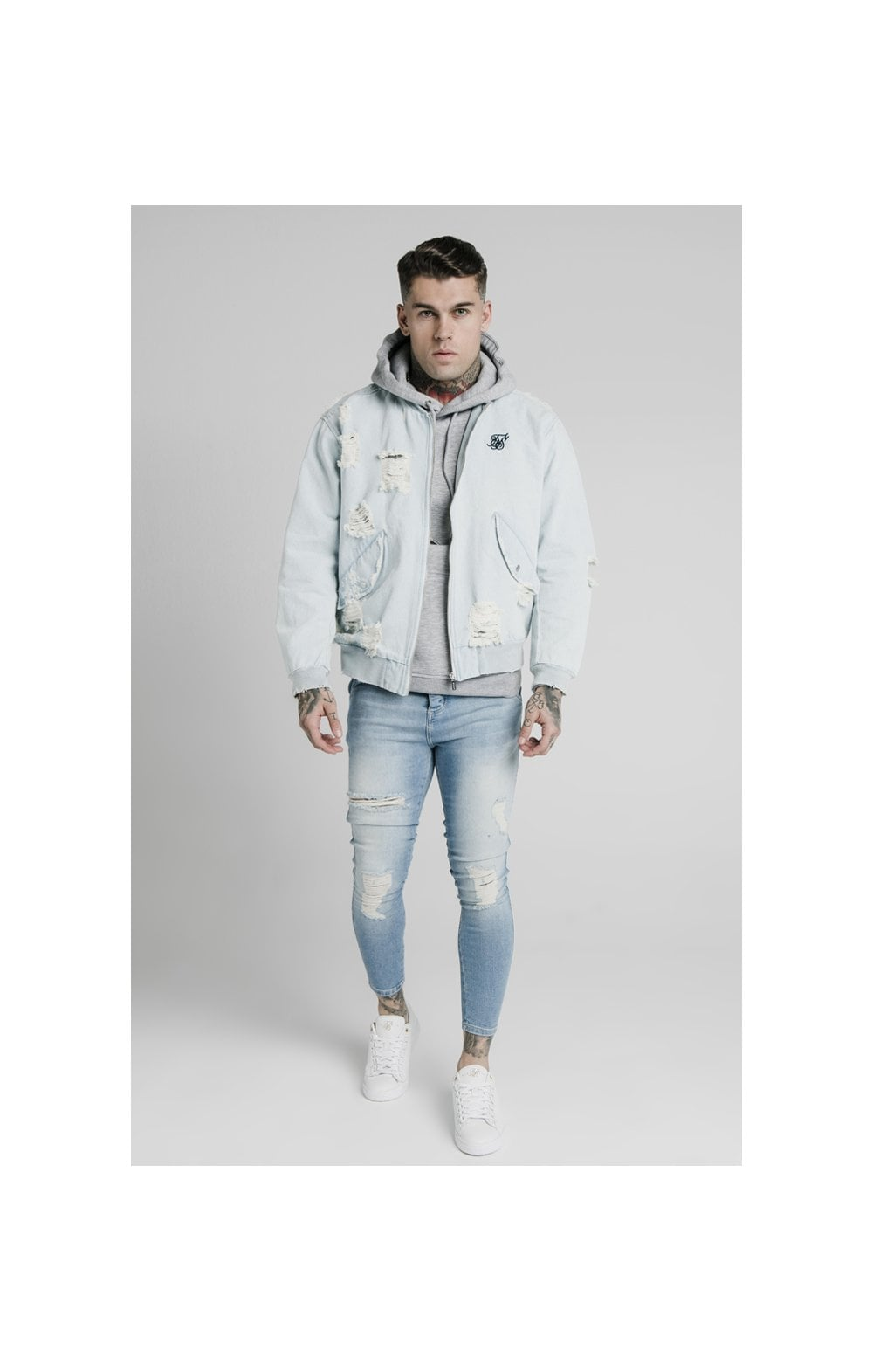 SikSilk Distressed Denim Bomber Jacket - Light Blue (3)