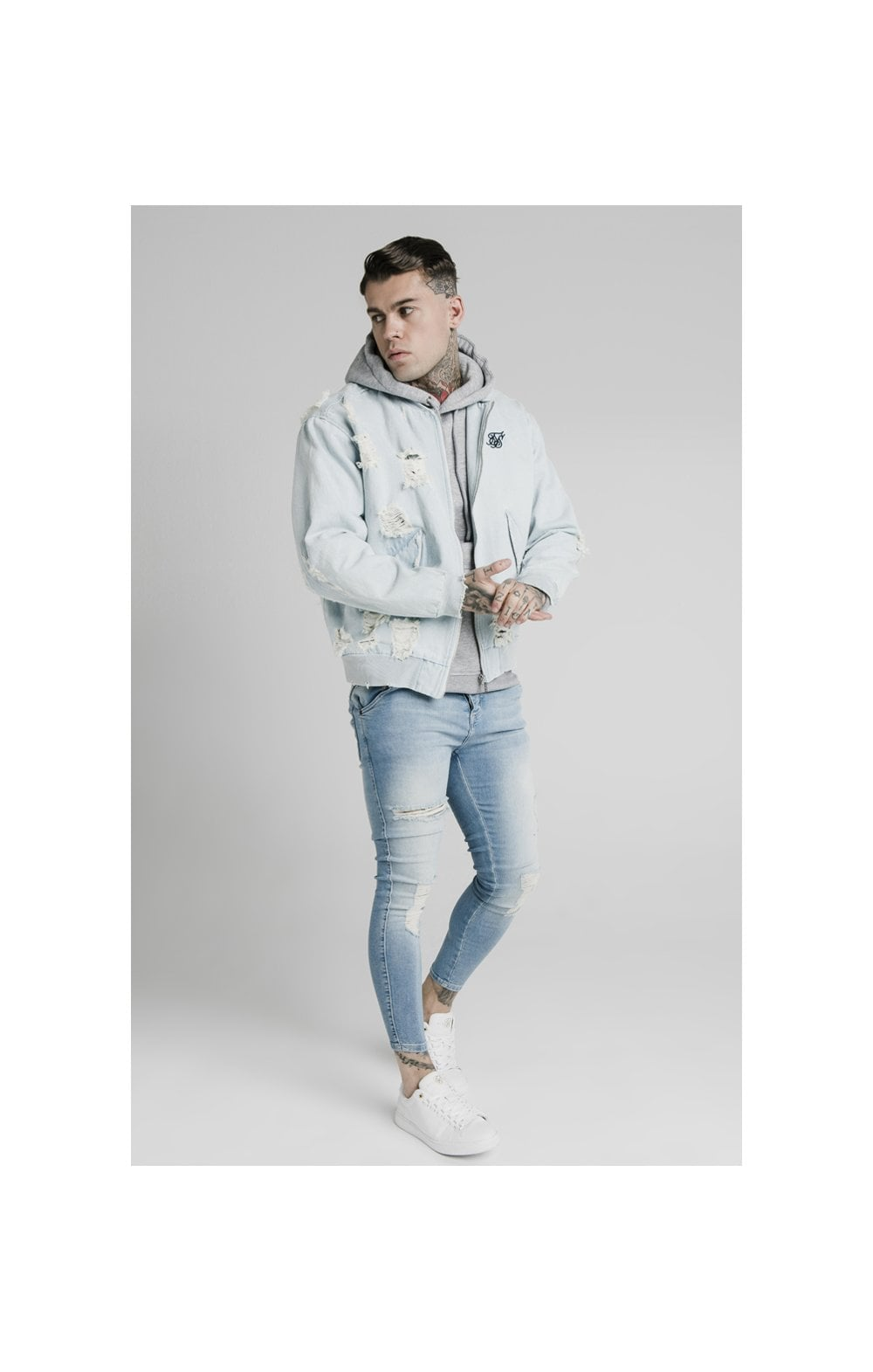 SikSilk Distressed Denim Bomber Jacket - Light Blue (4)