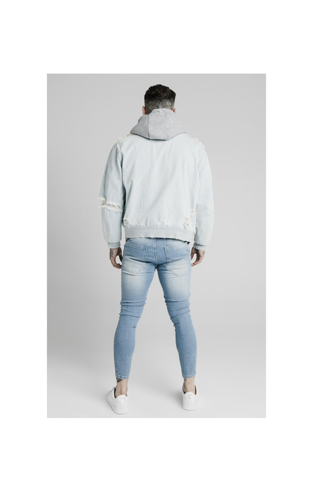 SikSilk Distressed Denim Bomber Jacket - Light Blue (5)