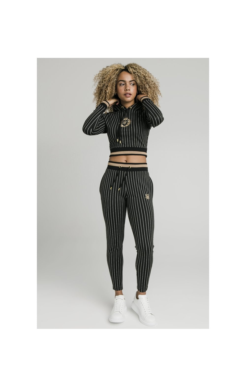 SikSilk Baseball Stripe Cropped Hoodie - Black (2)