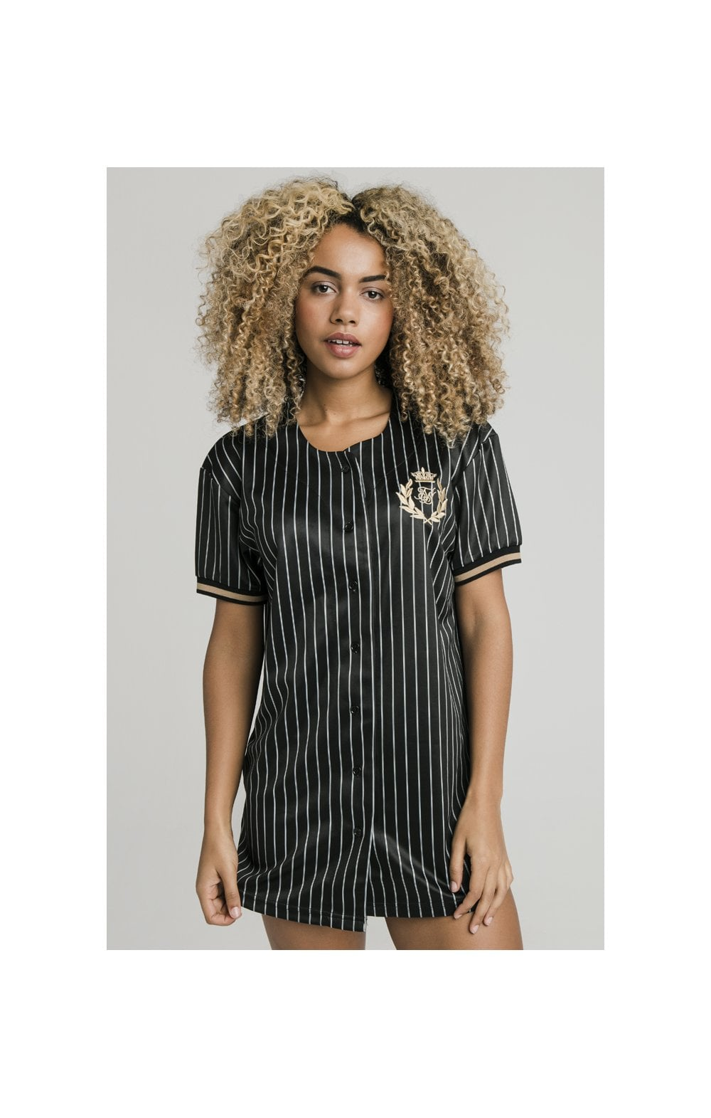 SikSilk Baseball Jersey Dress - Black