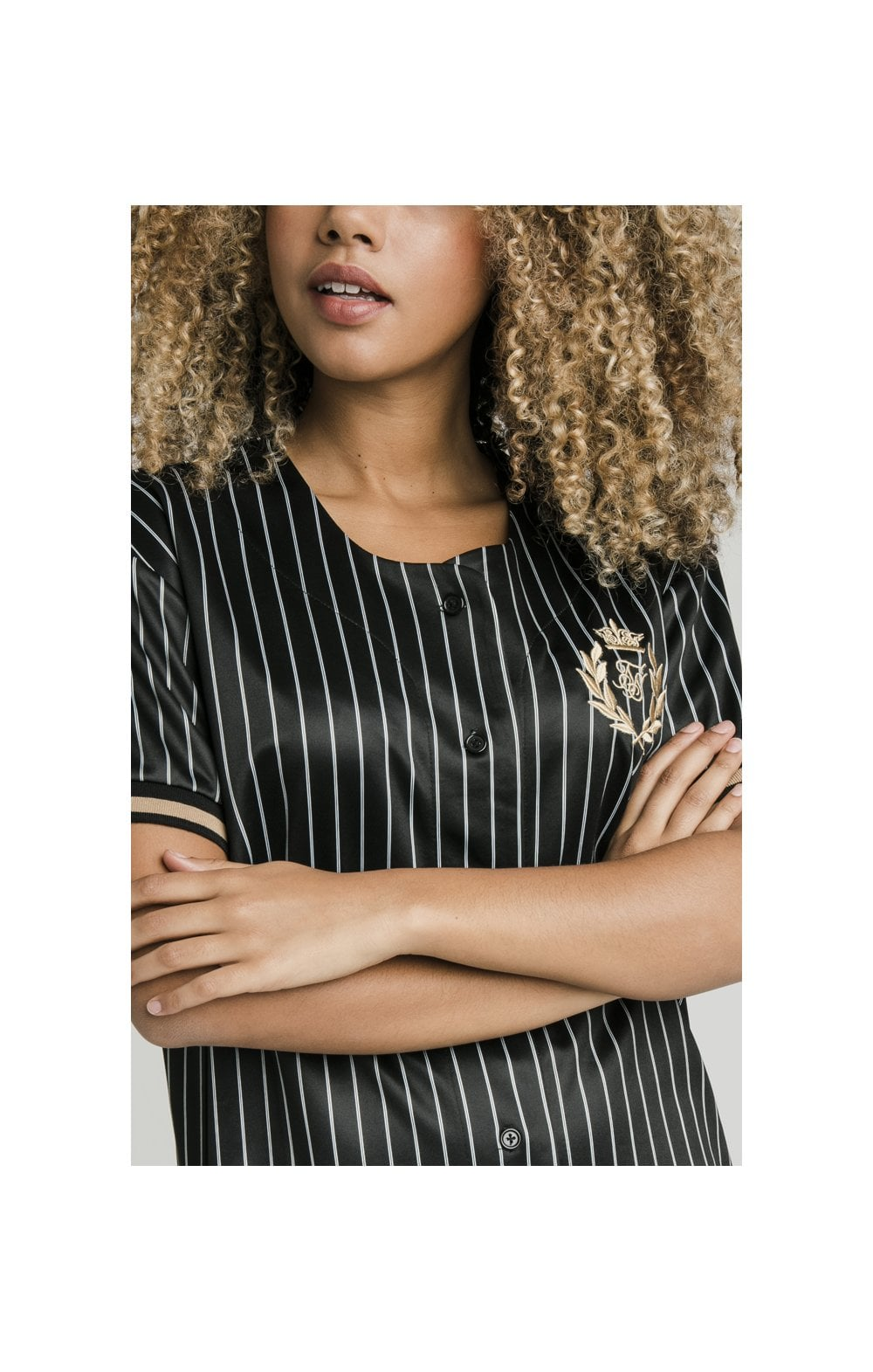SikSilk Baseball Jersey Dress - Black (1)