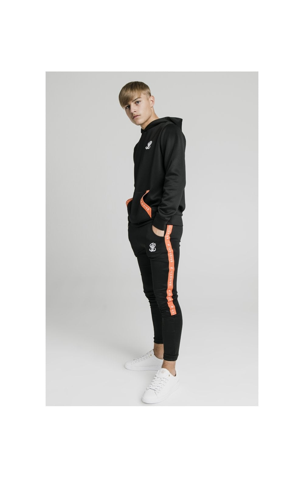 Illusive London Back Tape Zip Through Hoodie - Black (2)