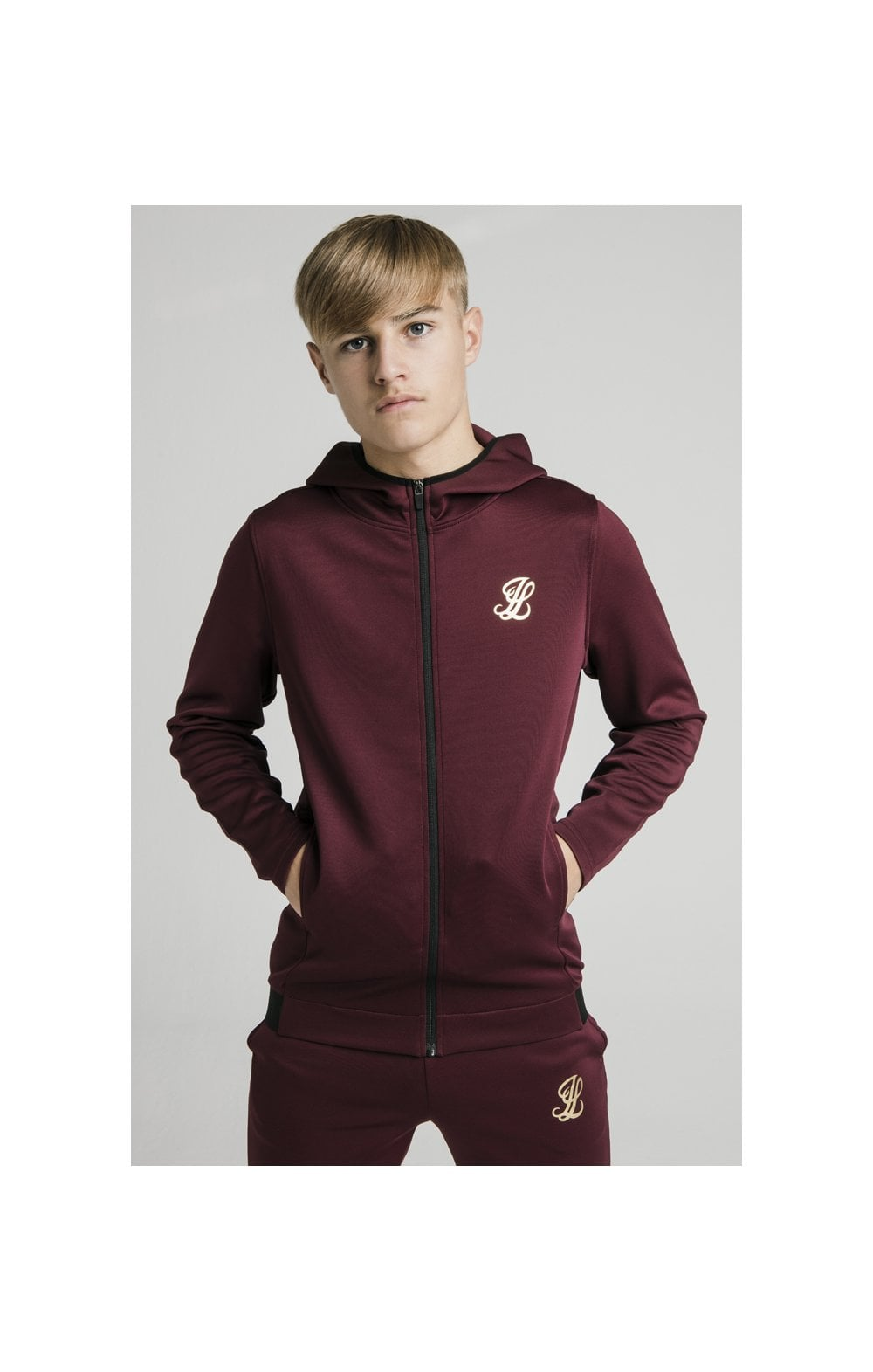 Illusive London Agility Zip Through Hoodie - Burgundy