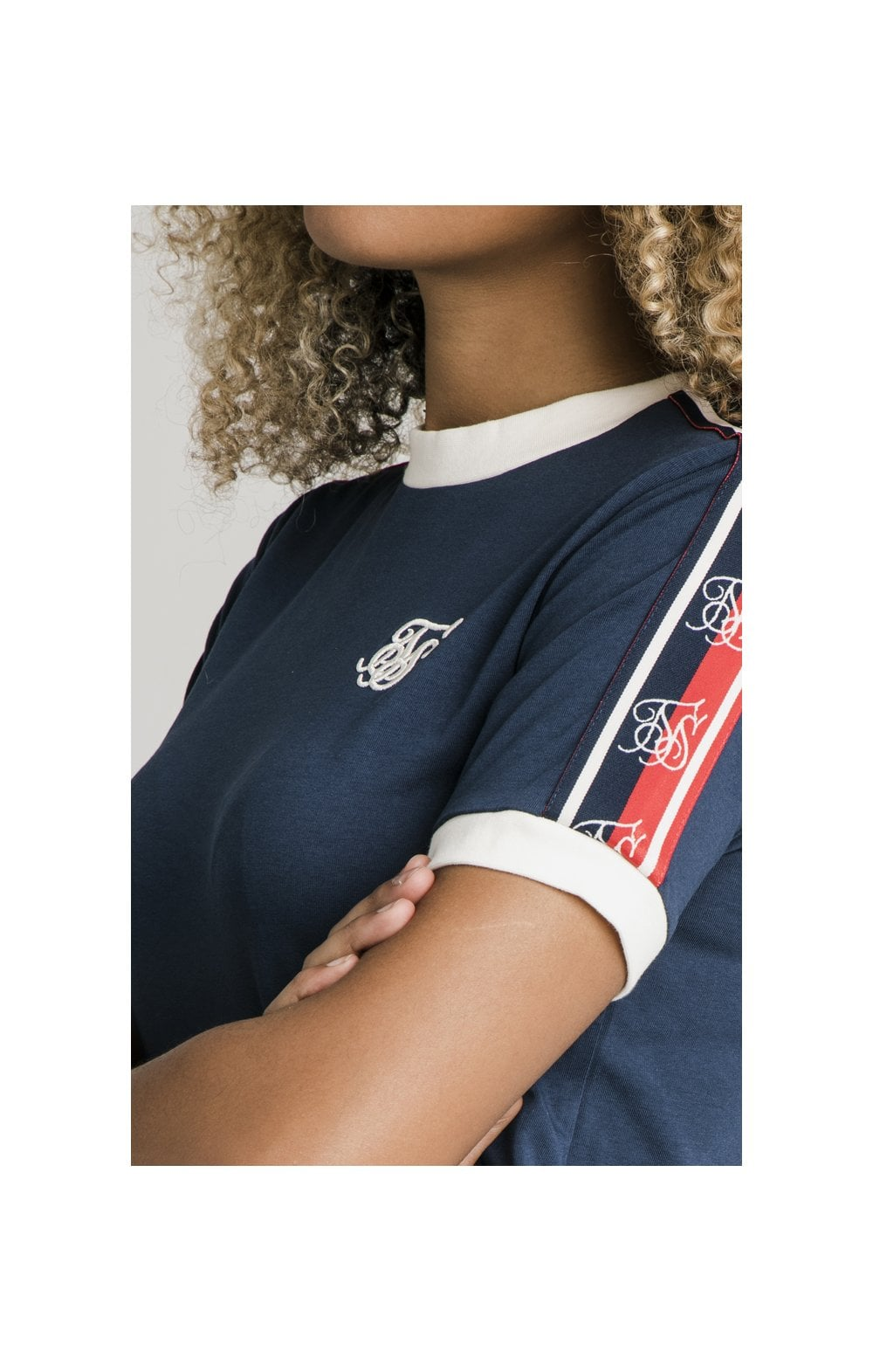 Load image into Gallery viewer, SikSilk Classic Tape Ringer Tee - Navy (1)
