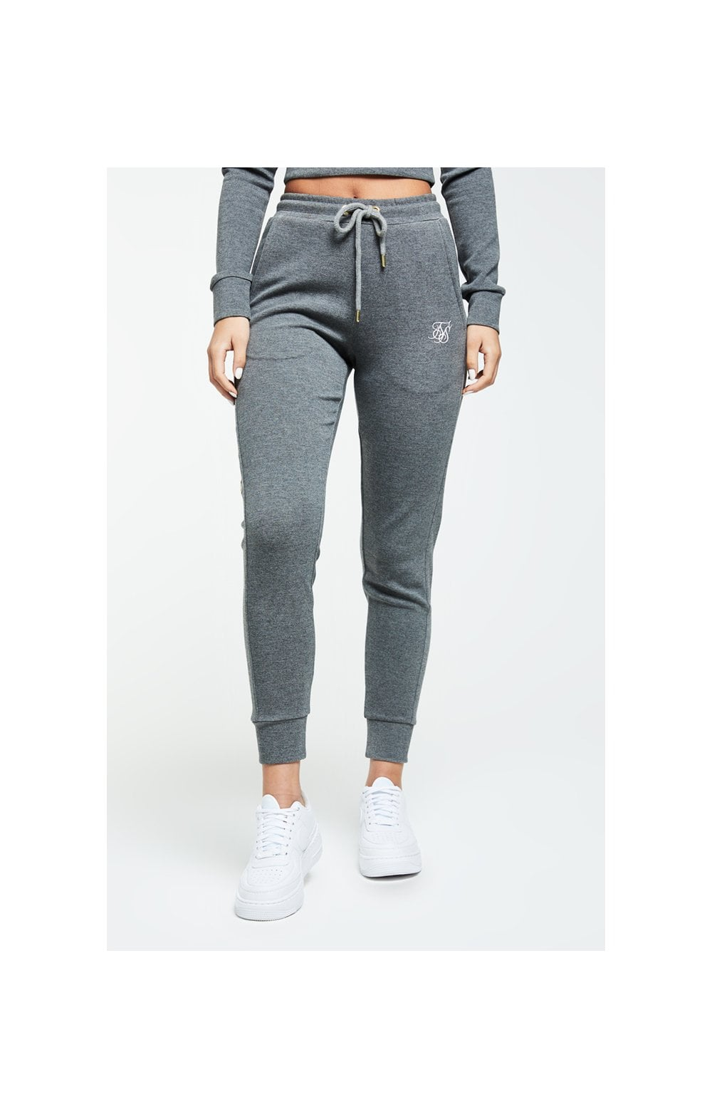 SikSilk Colour Signature Track Pants - Dark Grey Marl