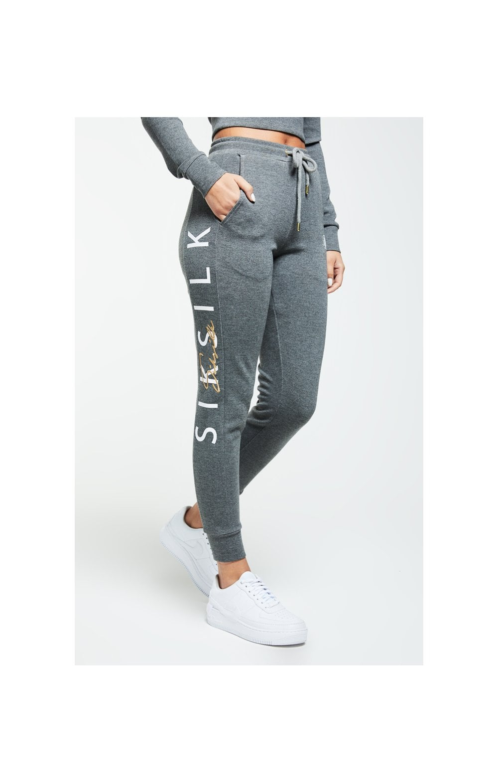 SikSilk Colour Signature Track Pants - Dark Grey Marl (2)