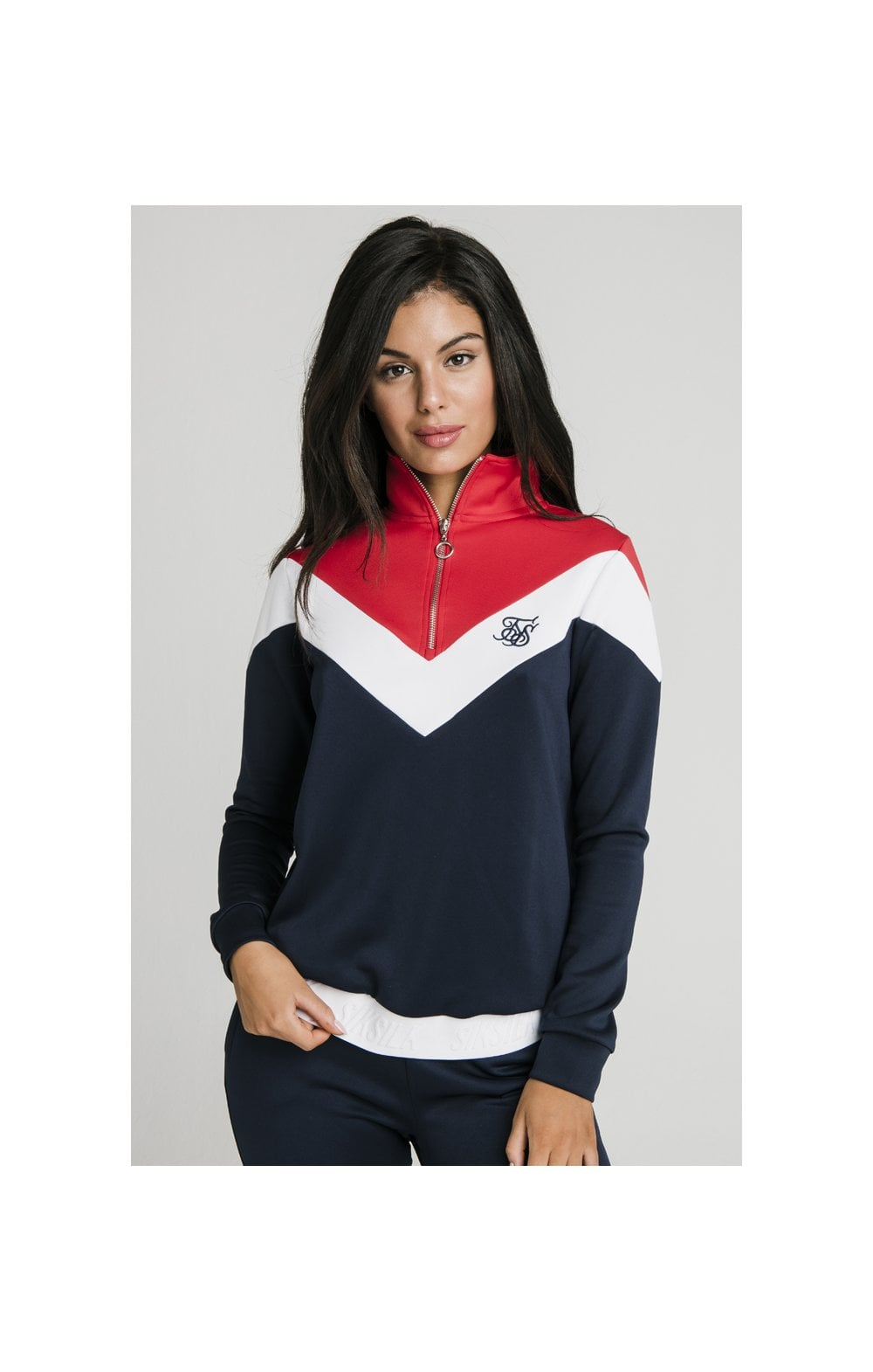 SikSilk Retro Sport Track Top - Navy, Red & White